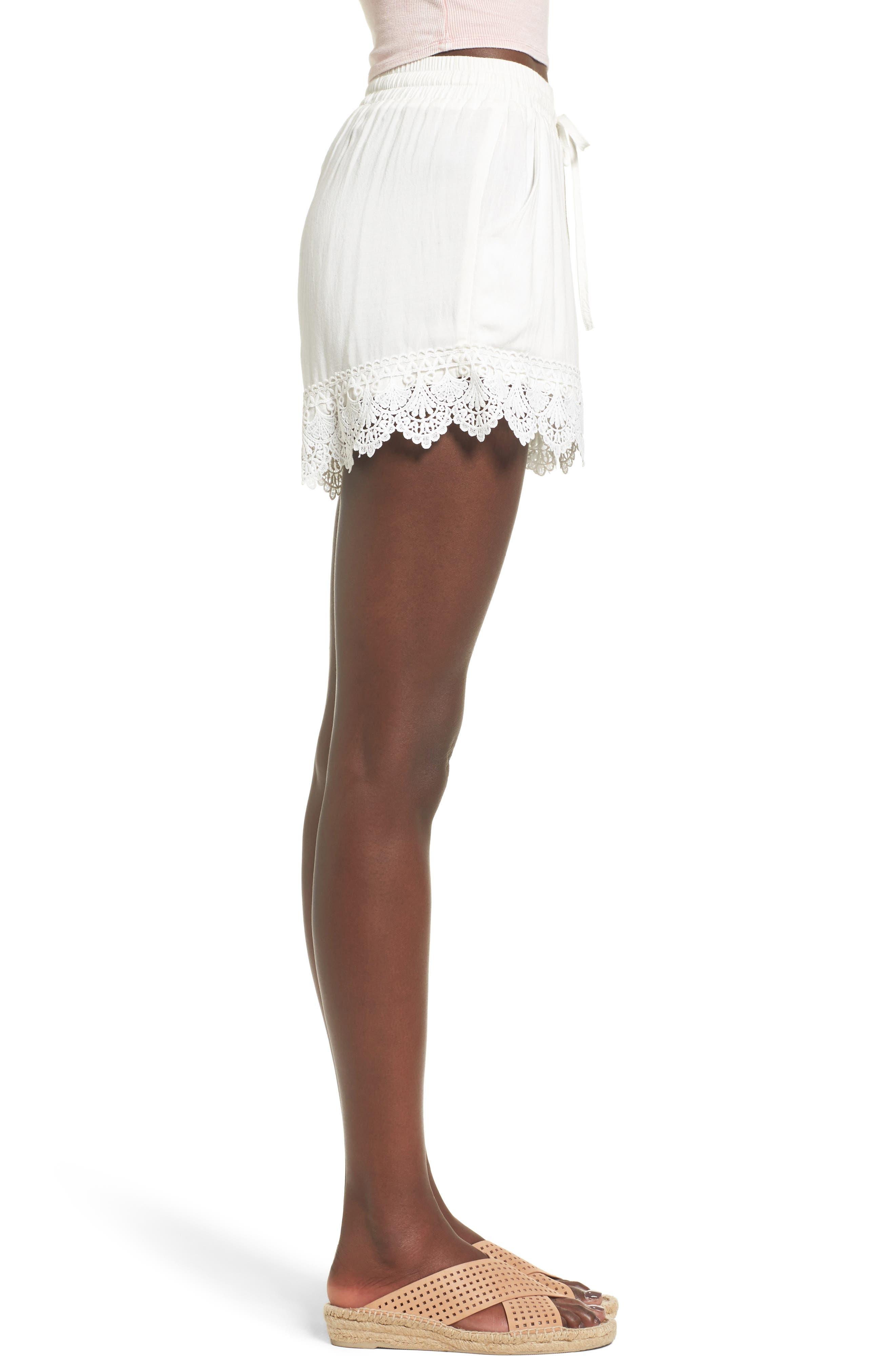 Lace Hem Shorts,                             Alternate thumbnail 3, color,                             100