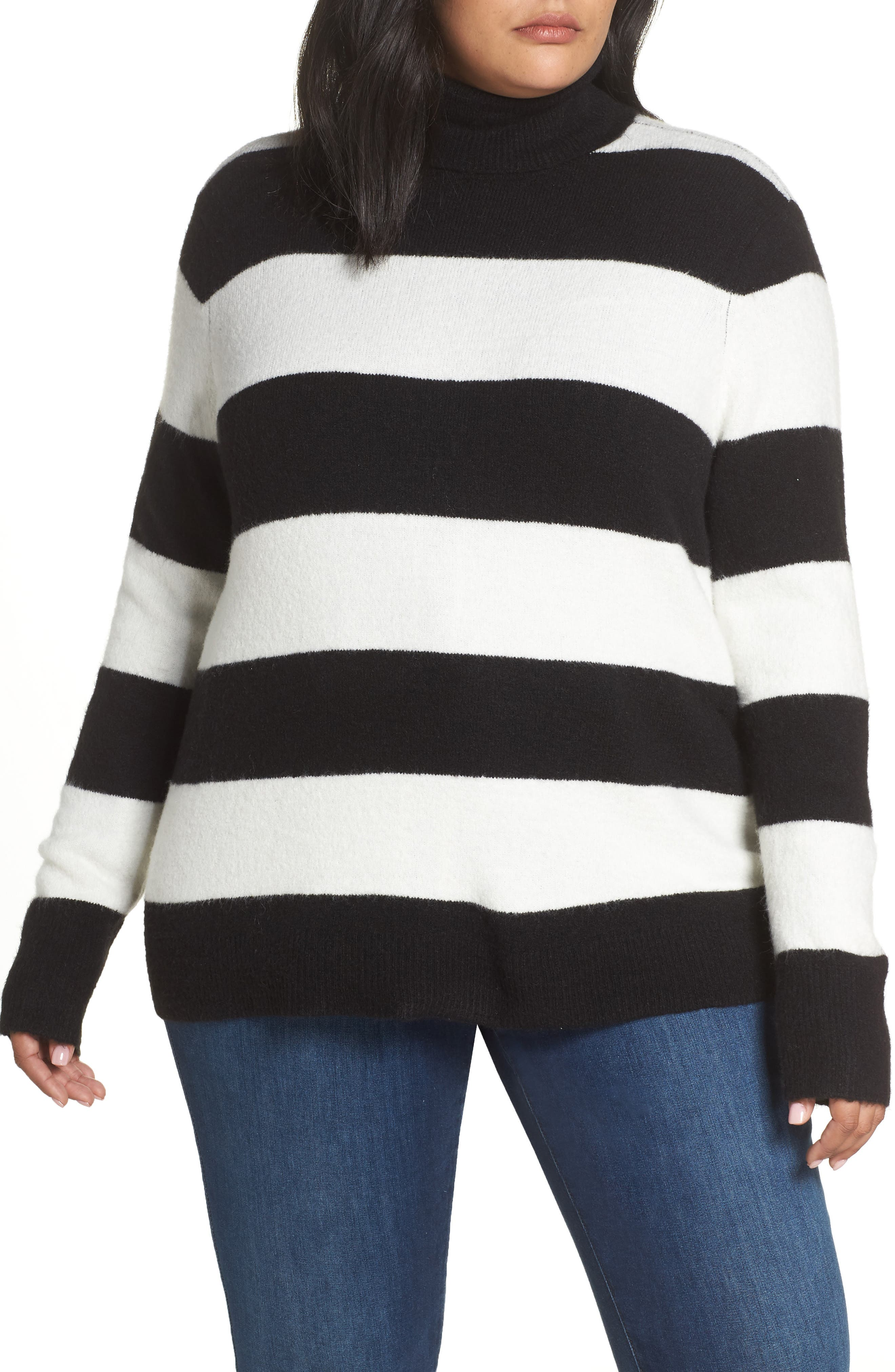 x Atlantic-Pacific Stripe Turtleneck Sweater,                         Main,                         color, BLACK- IVORY STRIPE