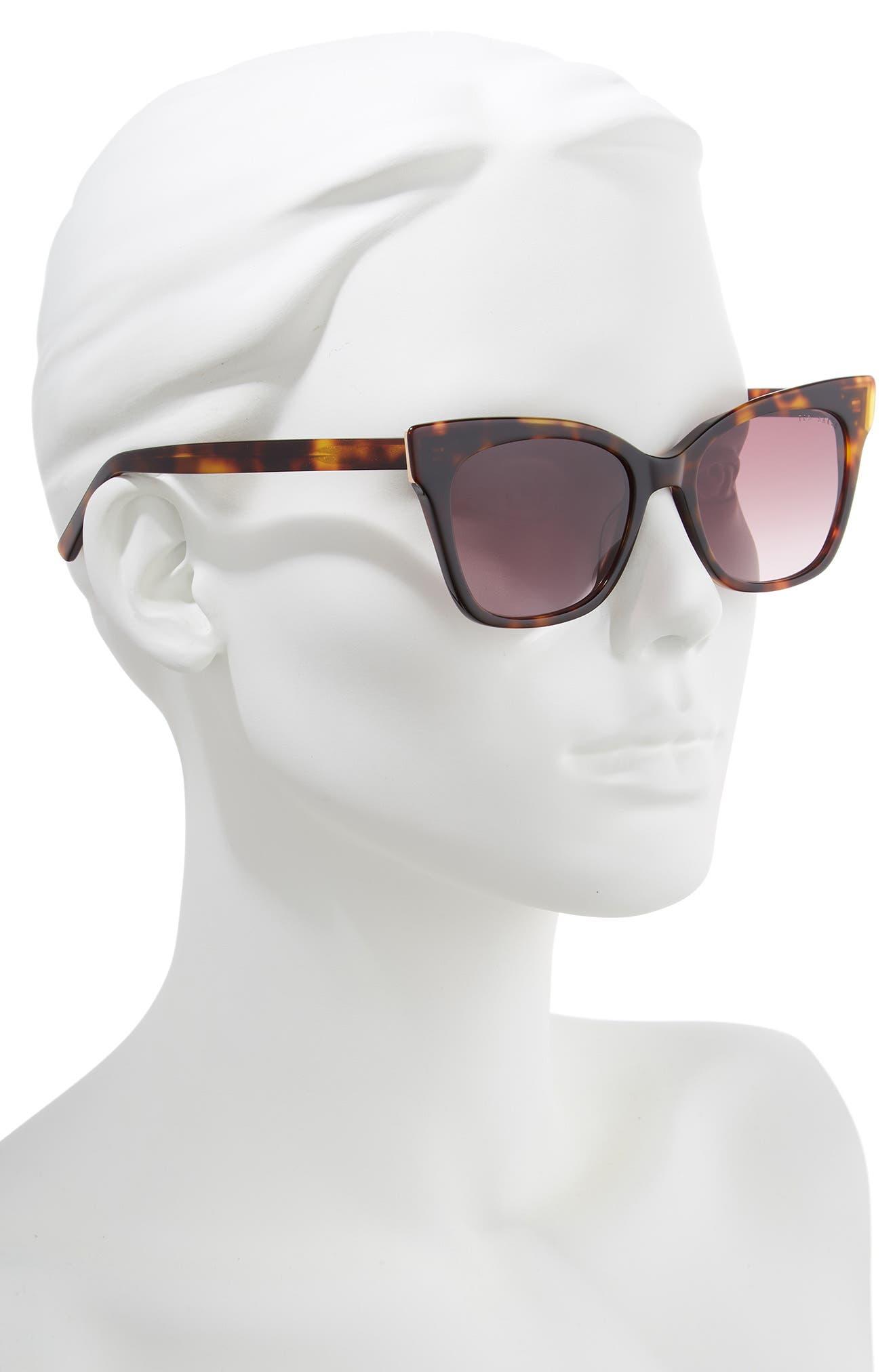 53mm Square Cat Eye Sunglasses,                             Alternate thumbnail 2, color,                             TORTOISE