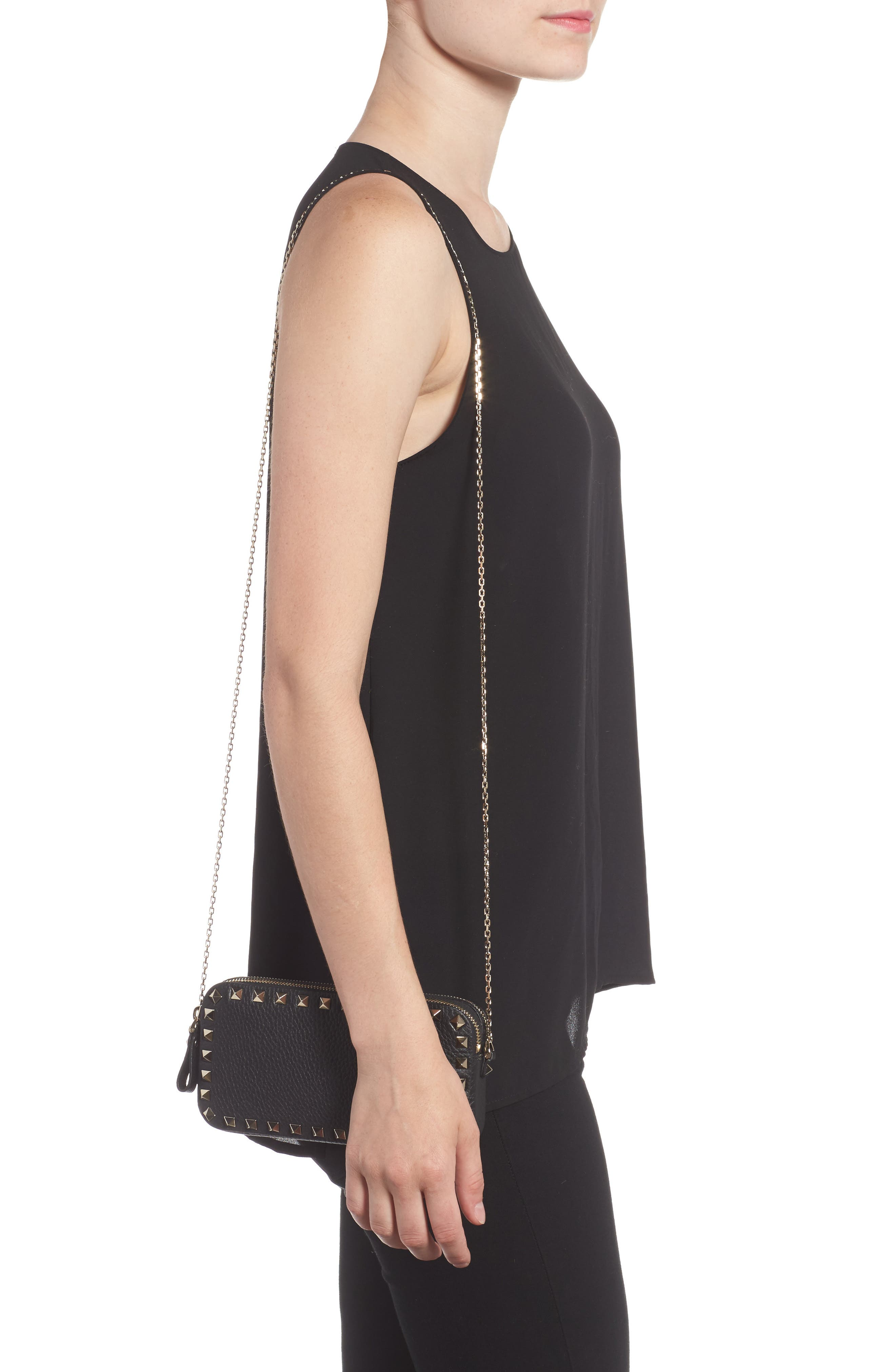 Rockstud Leather Crossbody Bag,                             Alternate thumbnail 3, color,
