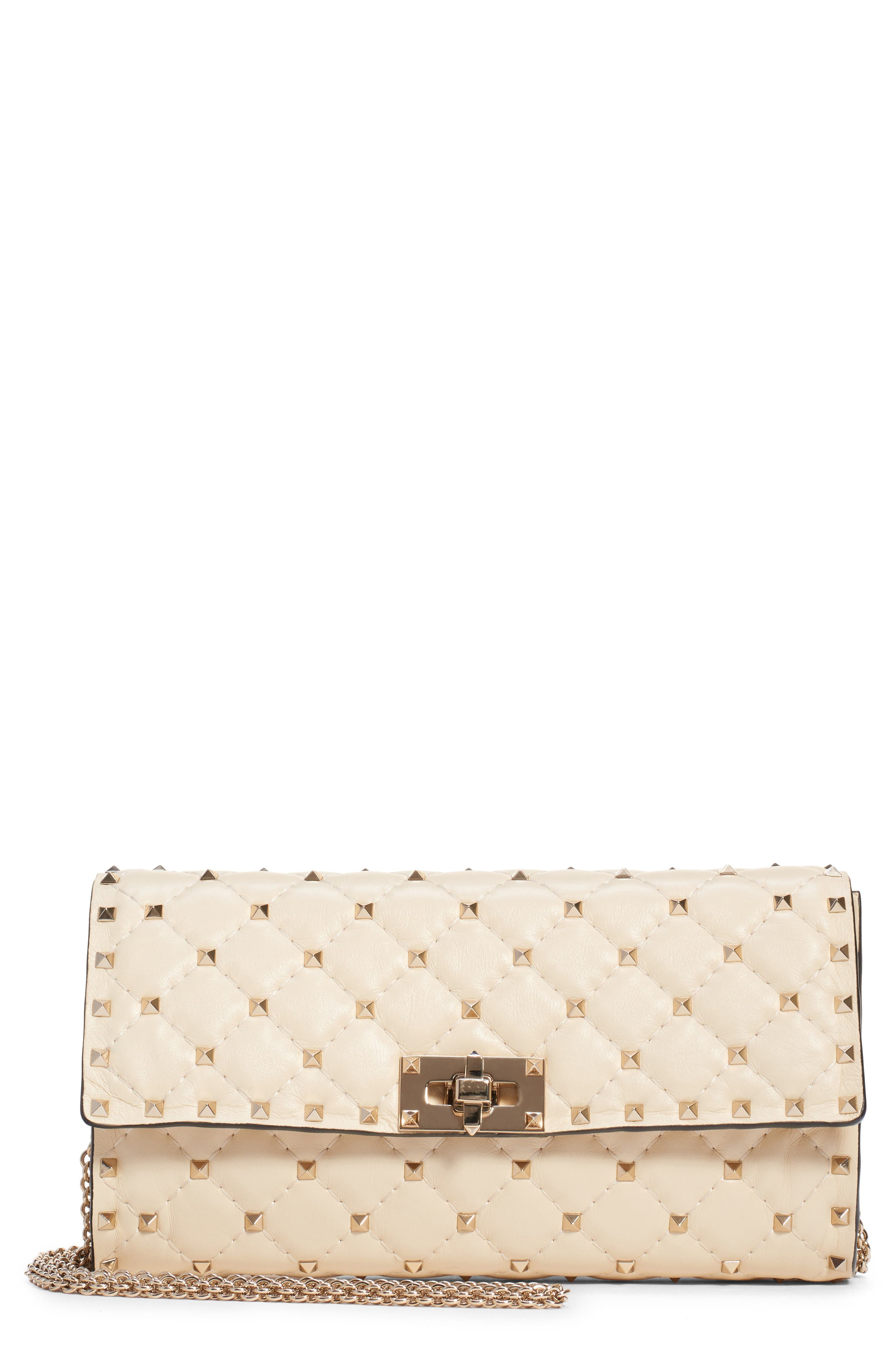 Rockstud Matelassé Quilted Leather Crossbody Bag, Main, color, LIGHT IVORY