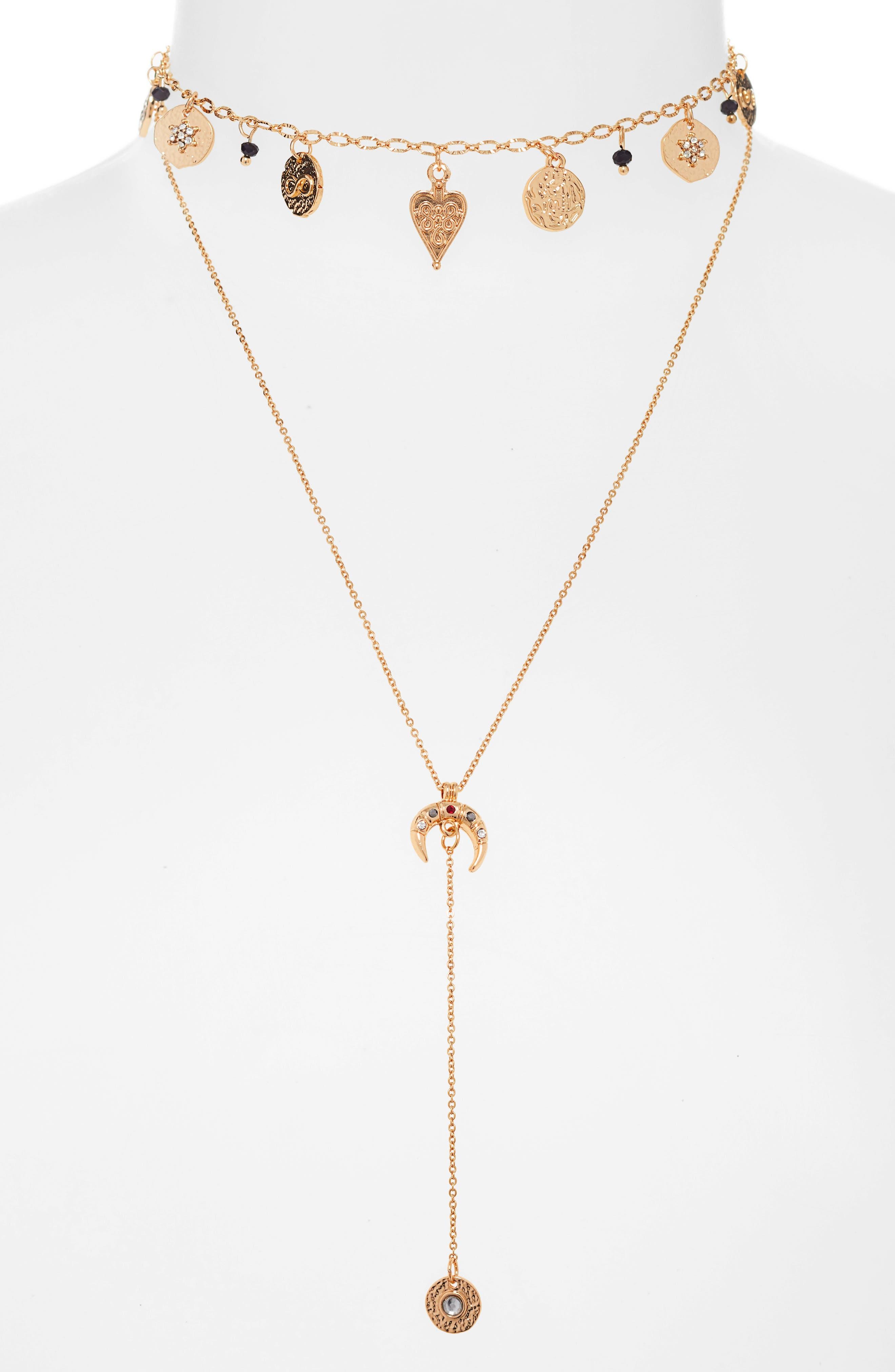 Layered Y Necklace,                         Main,                         color, 001