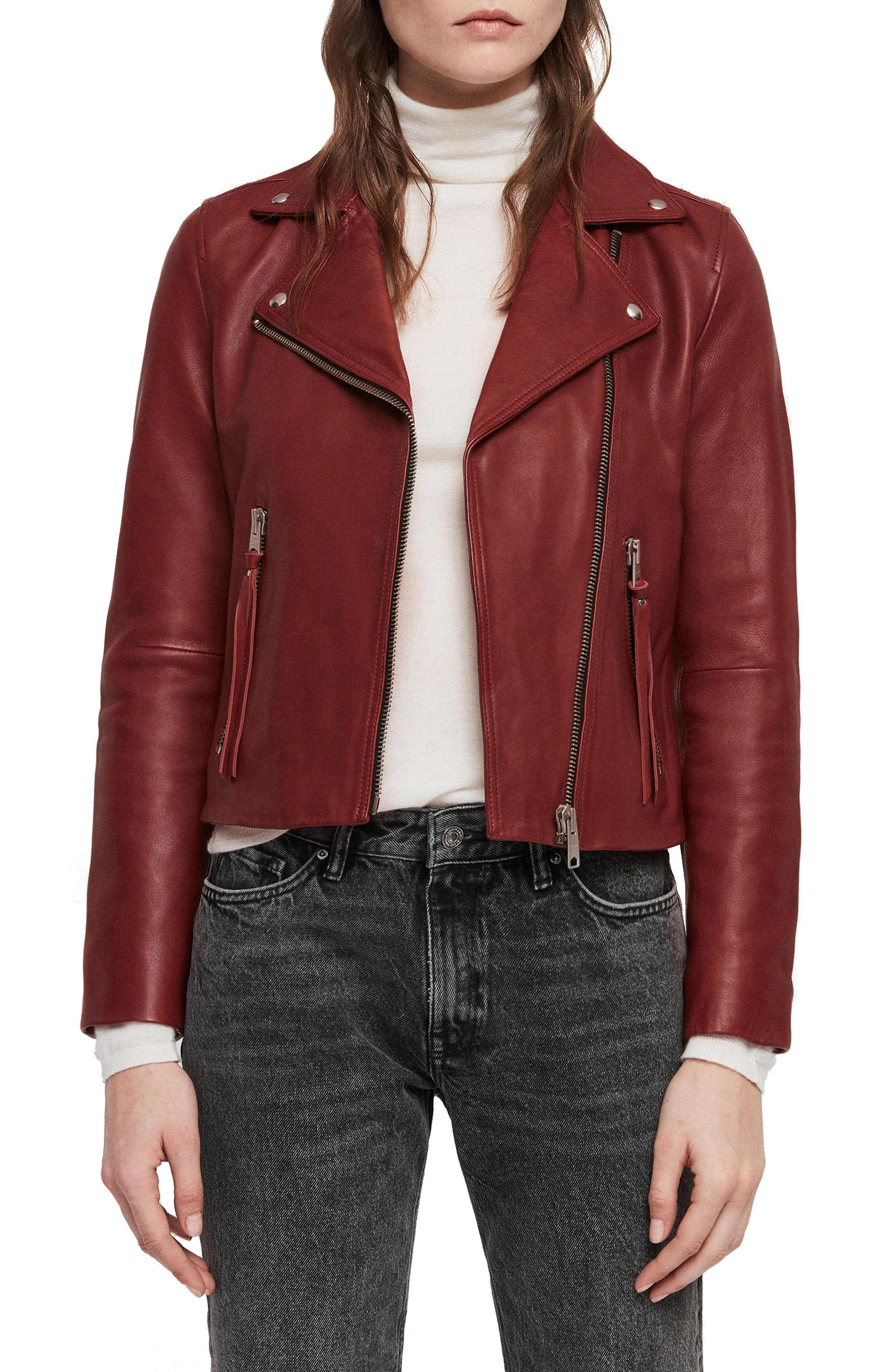 Allsaints Dalby Red Leather Jacket
