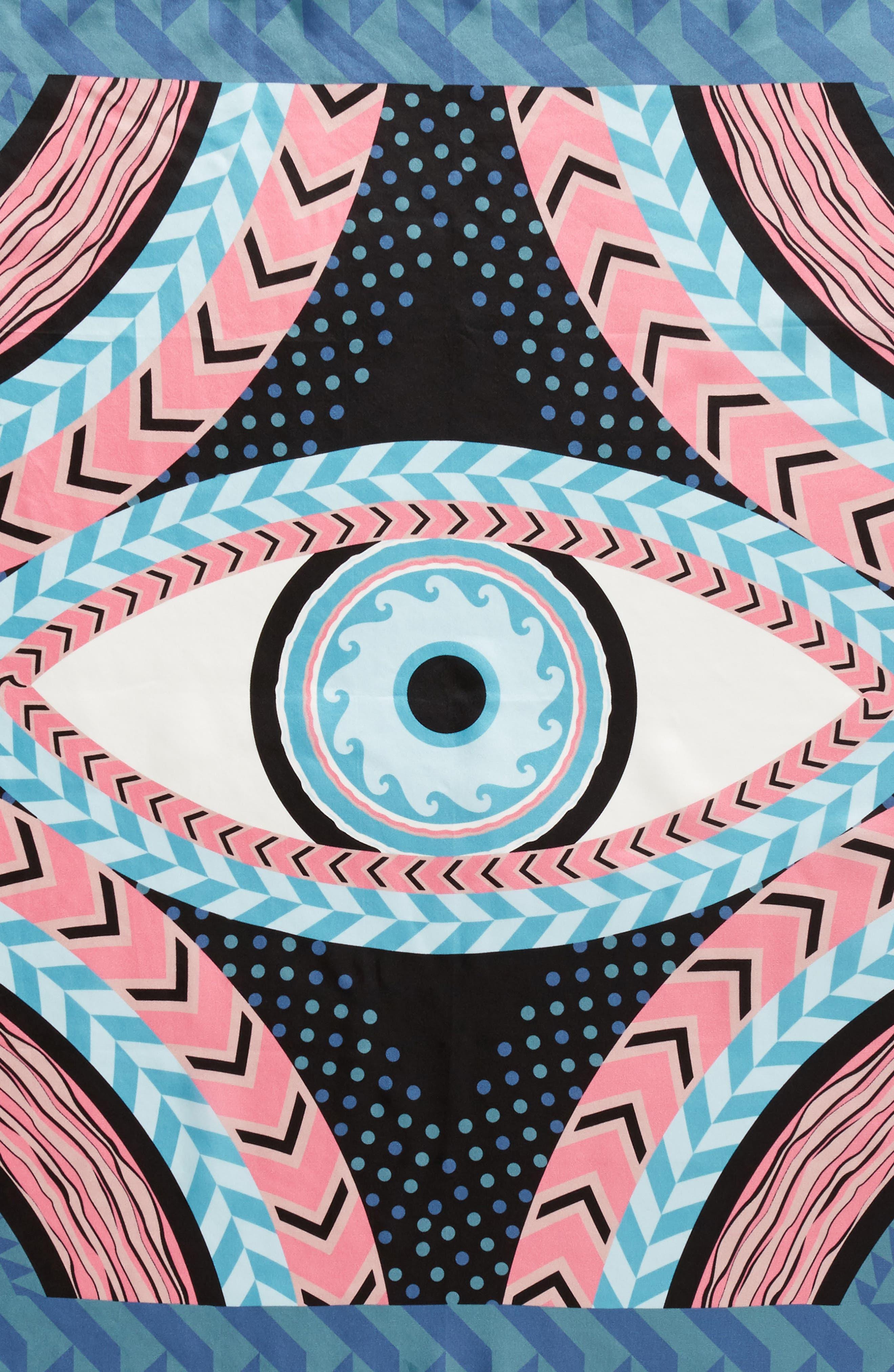 Geo Evil Eye Square Silk Scarf,                             Alternate thumbnail 4, color,