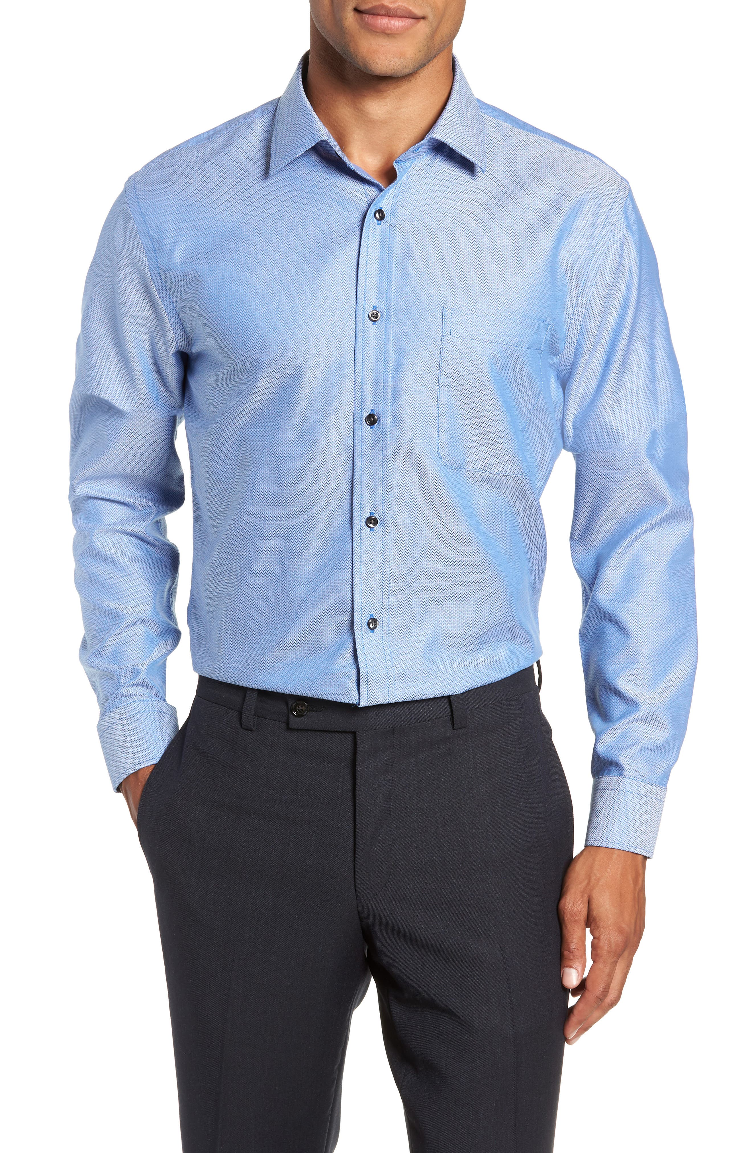Trim Fit No-Iron Geometric Dress Shirt,                             Main thumbnail 1, color,                             BLUE CAMP