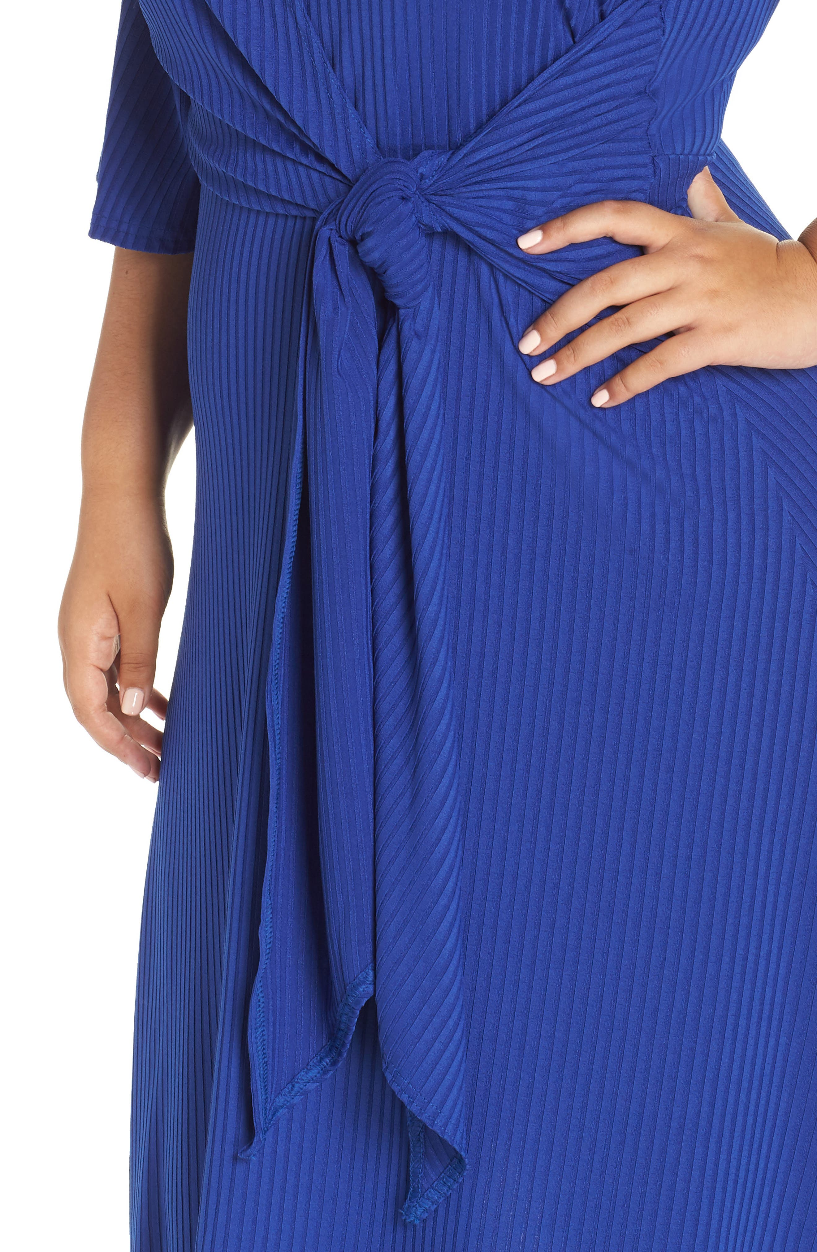 Ribbed Knit Skater Dress,                             Alternate thumbnail 4, color,                             BLUE