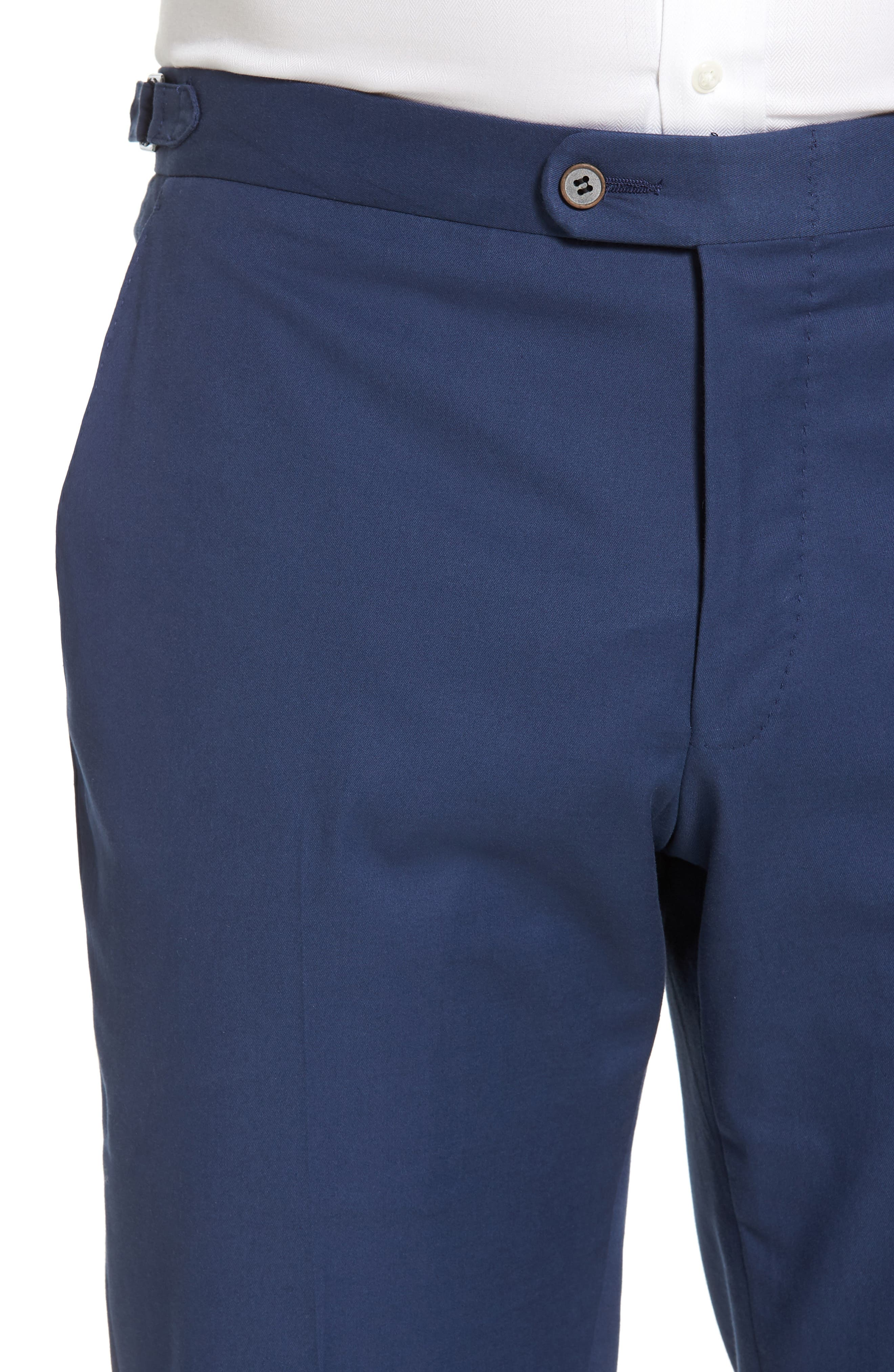 Flat Front Solid Stretch Cotton Trousers,                             Alternate thumbnail 4, color,                             422