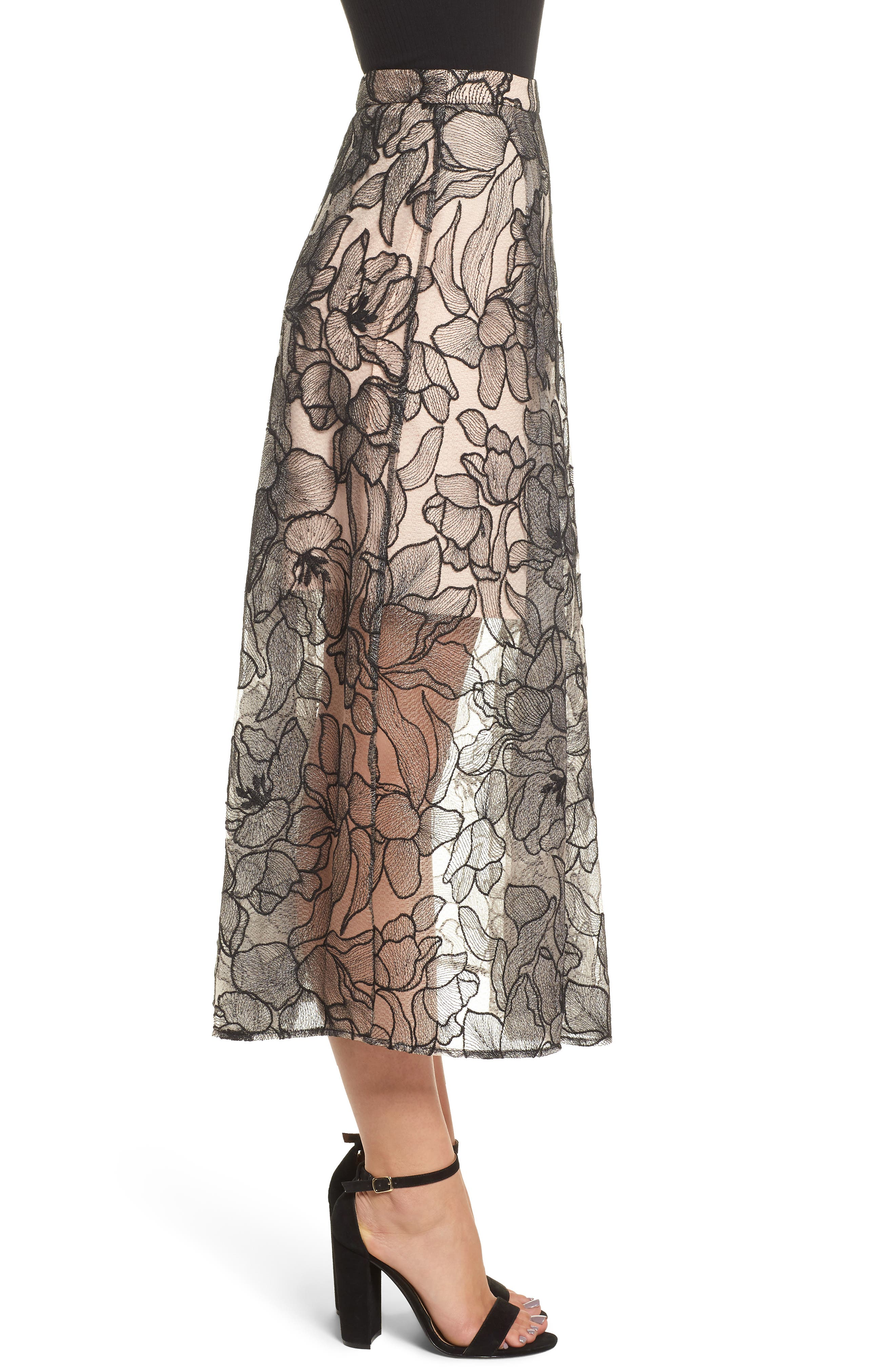 Pleated Lace Skirt,                             Alternate thumbnail 3, color,                             BLACK / NUDE EMBROIDERY