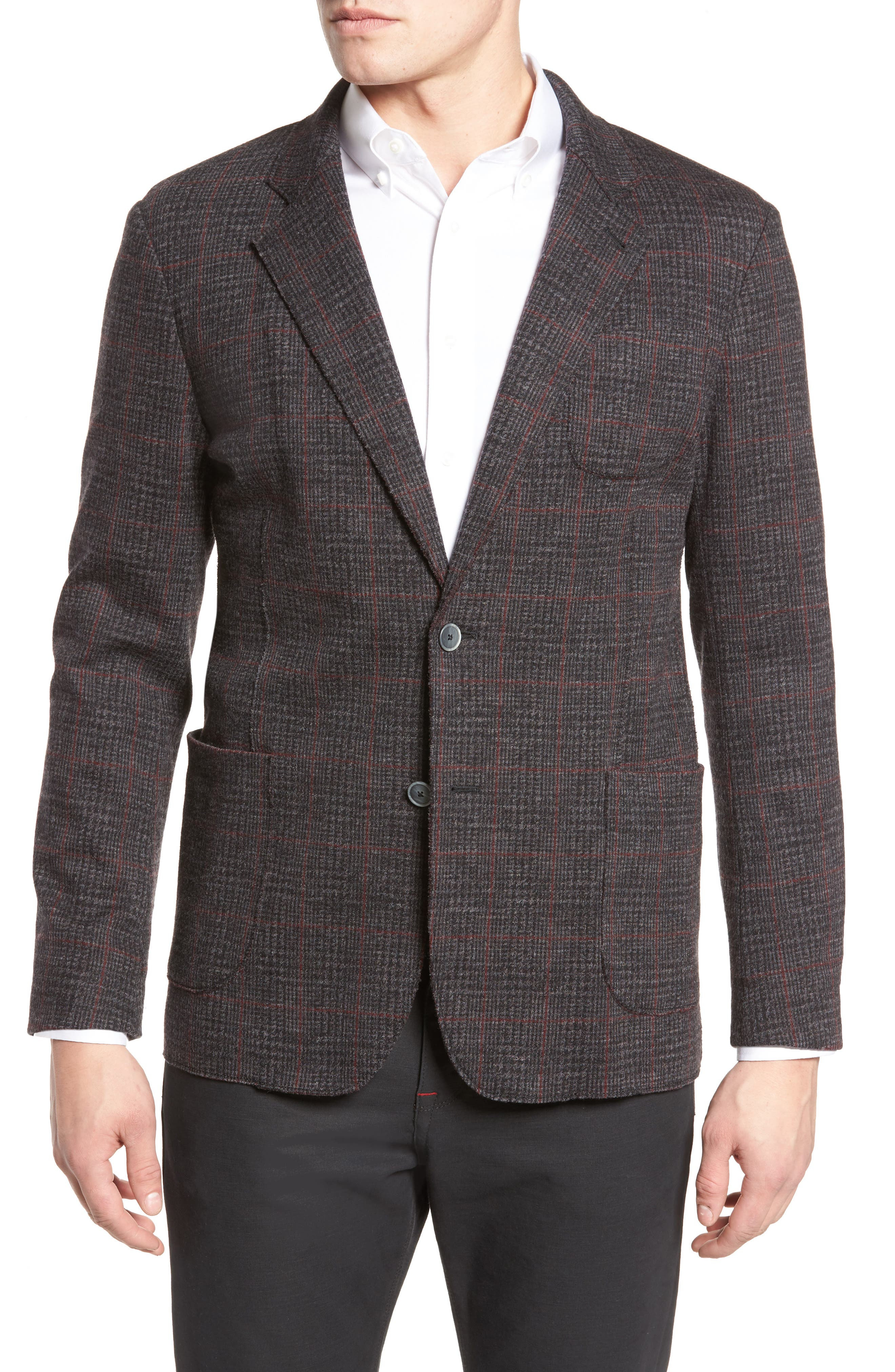 Plaid Wool Blazer,                         Main,                         color, 037