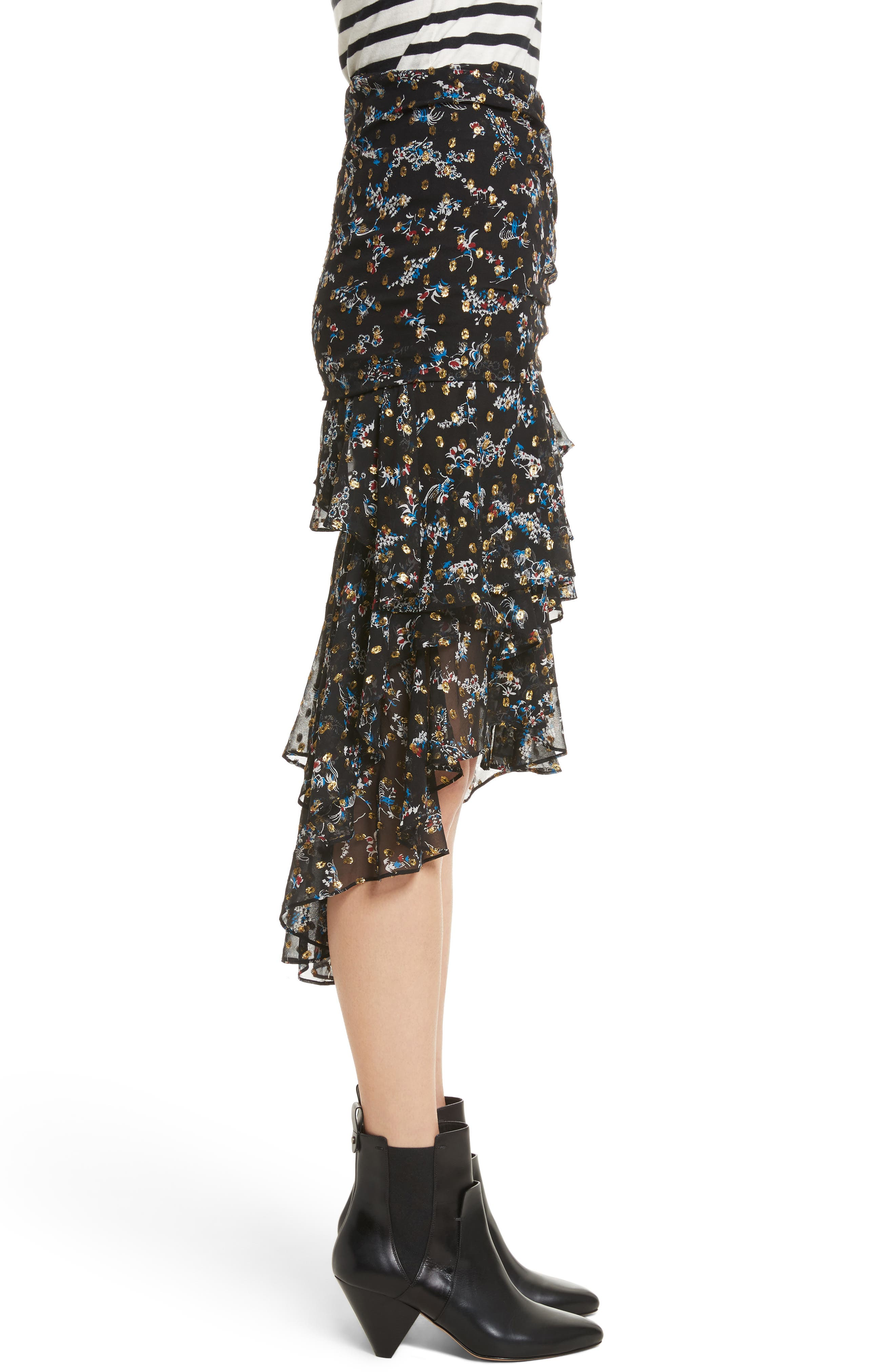 Cella Metallic Floral Print Midi Skirt,                             Alternate thumbnail 3, color,                             008