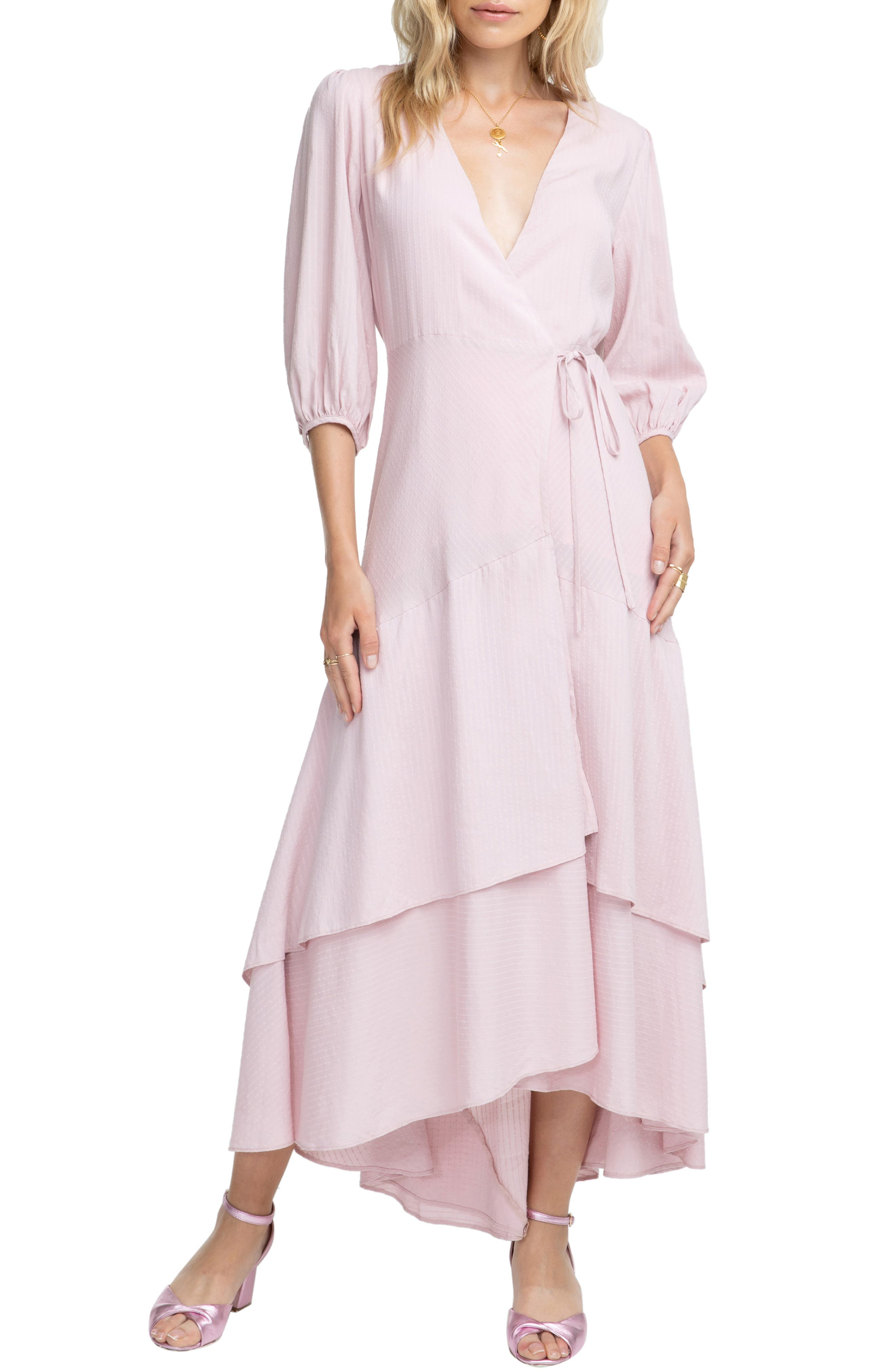 Astr The Label Shawna Wrap Maxi Dress, Pink
