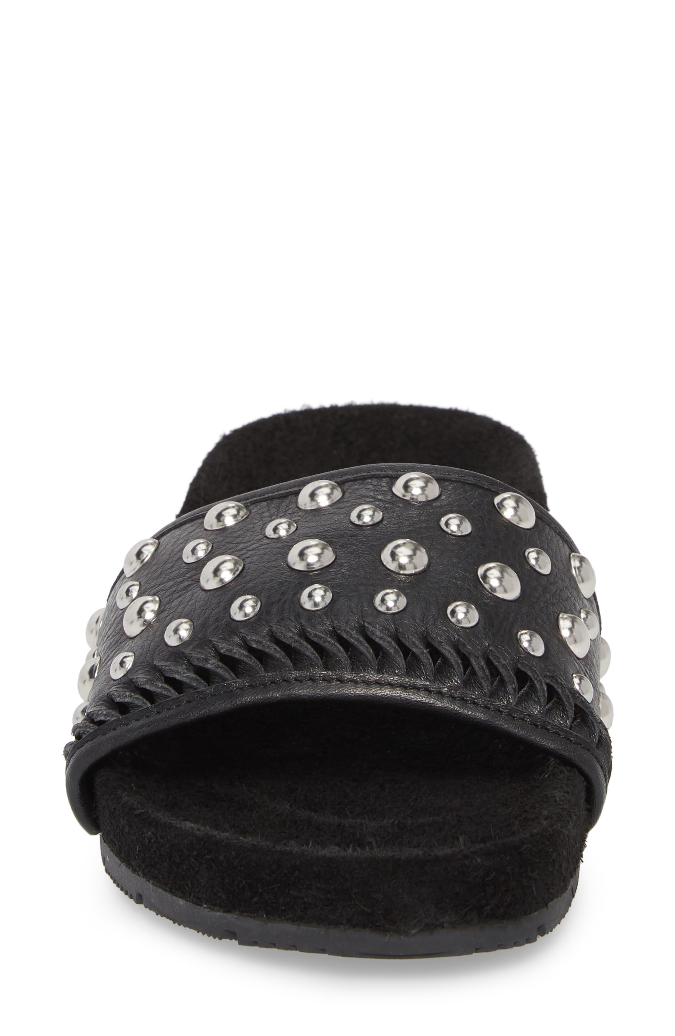 Nora Studded Slide Sandal,                             Alternate thumbnail 4, color,                             BLACK SUEDE