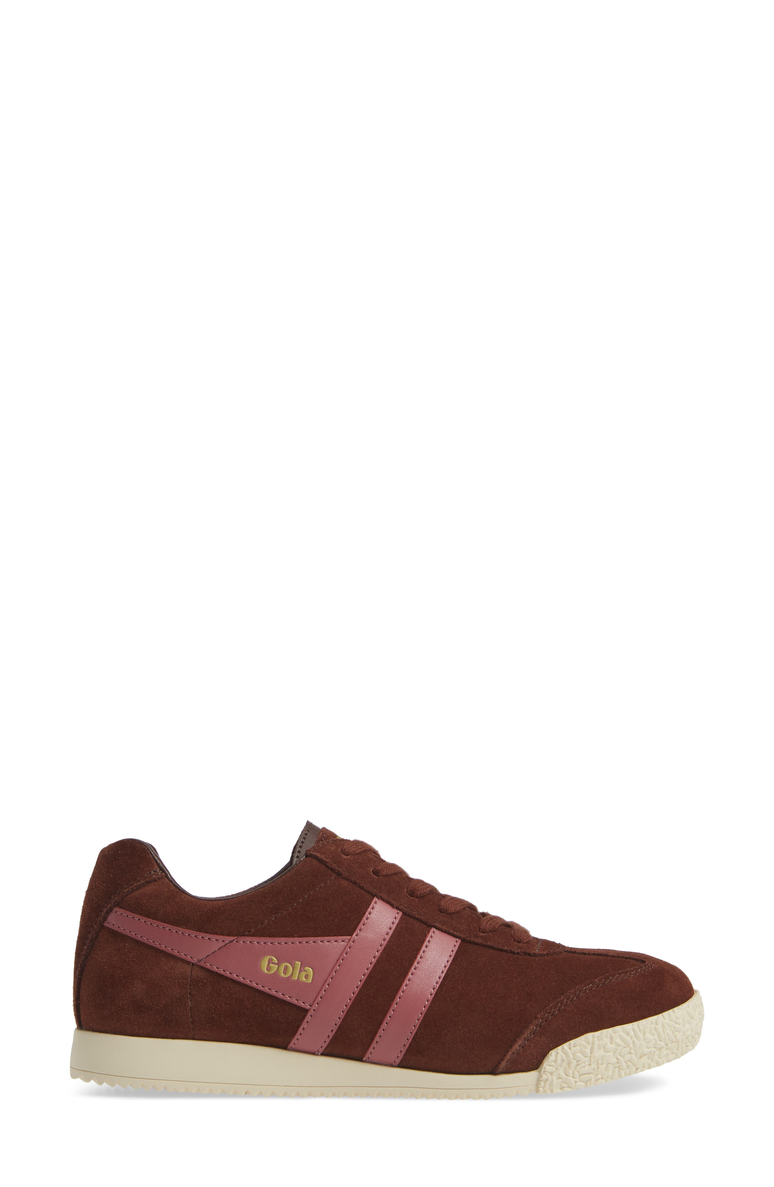 Harrier Suede Low Top Sneaker,                             Alternate thumbnail 3, color,                             COGNAC/ DUSTY ROSE
