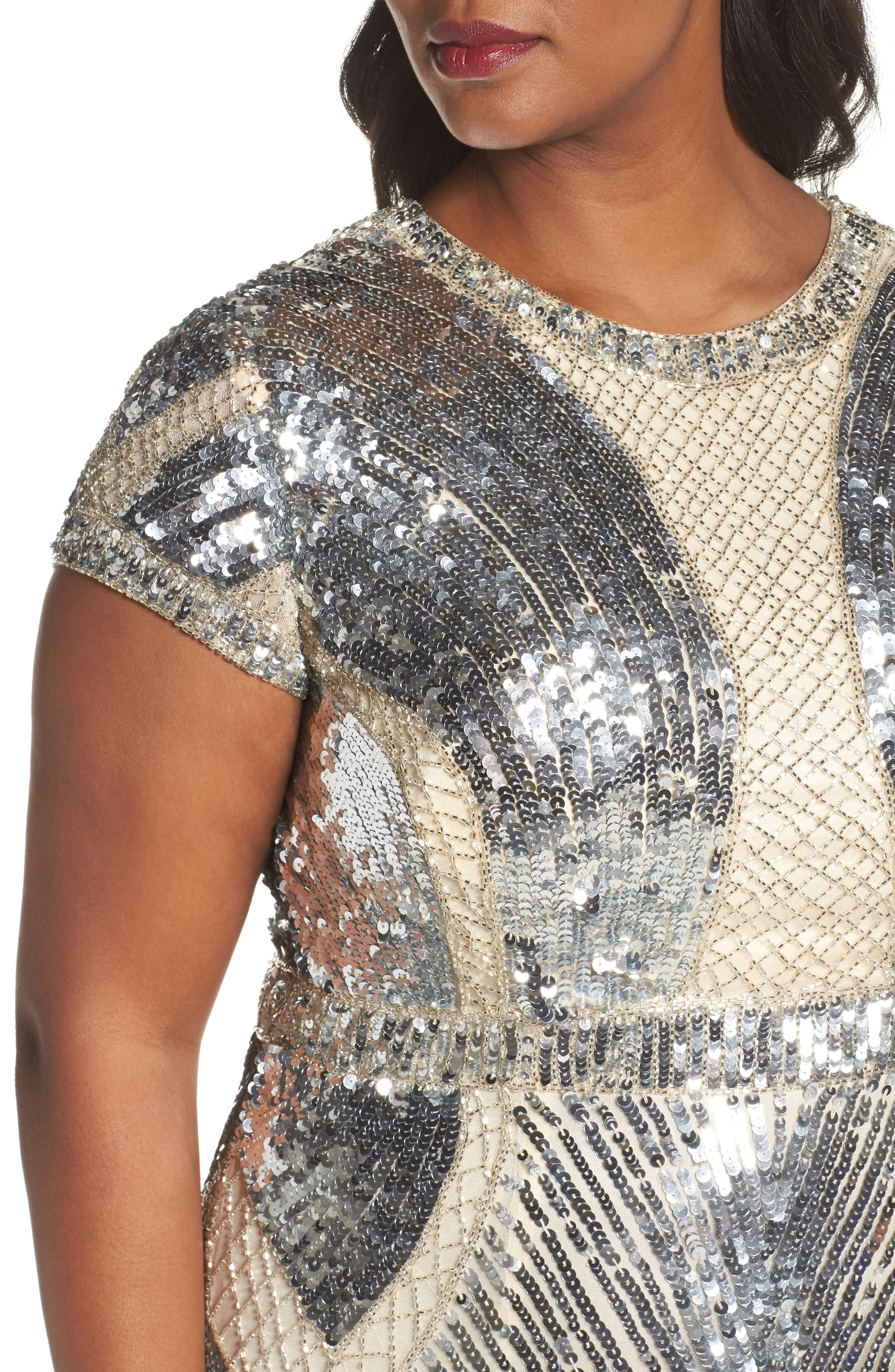 Jewel Neck Sequin Gown,                             Alternate thumbnail 4, color,                             SILVER/ NUDE