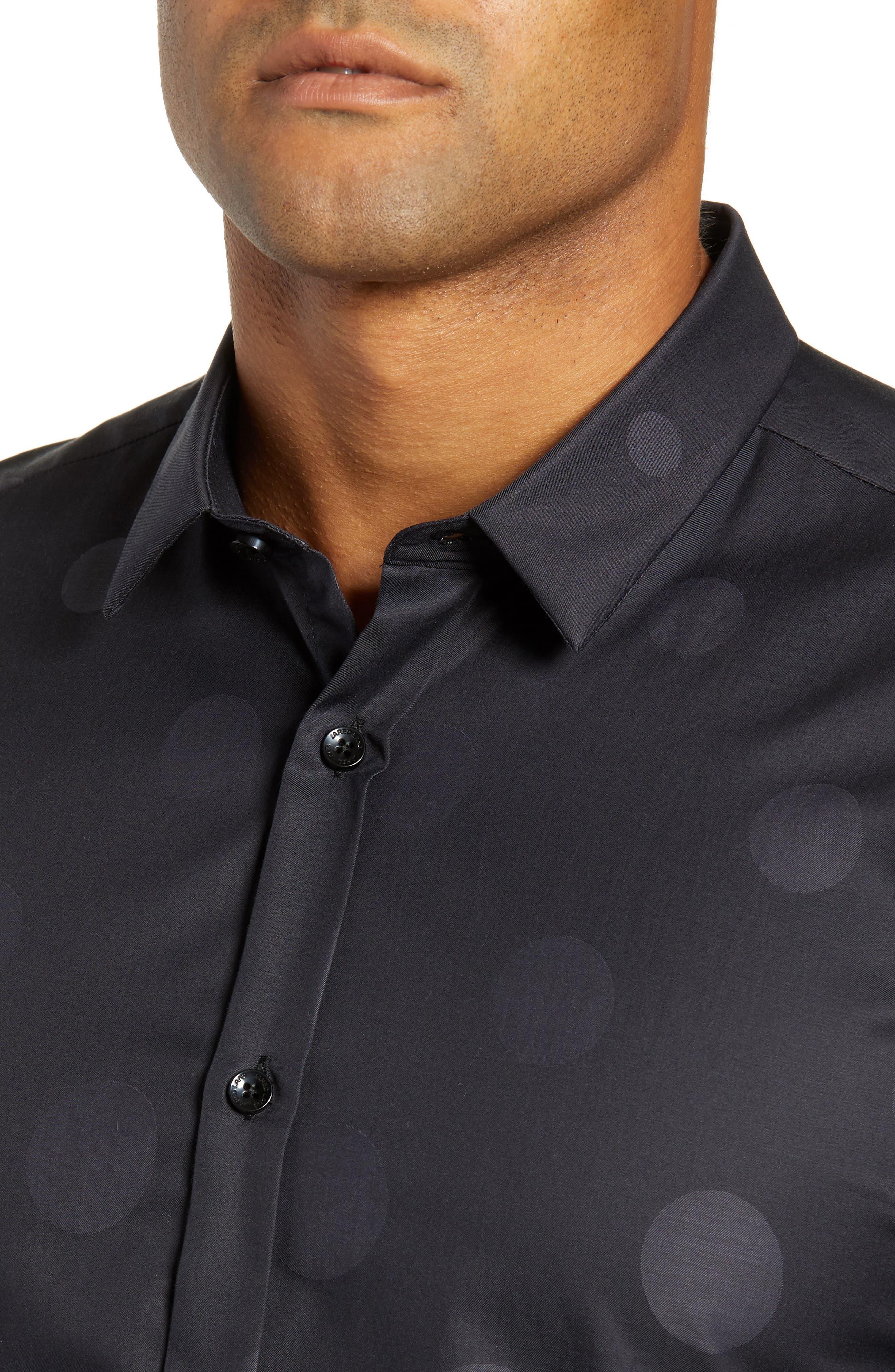 Print Sport Shirt,                             Alternate thumbnail 2, color,                             BLACK GRADUATED POLKA DOT
