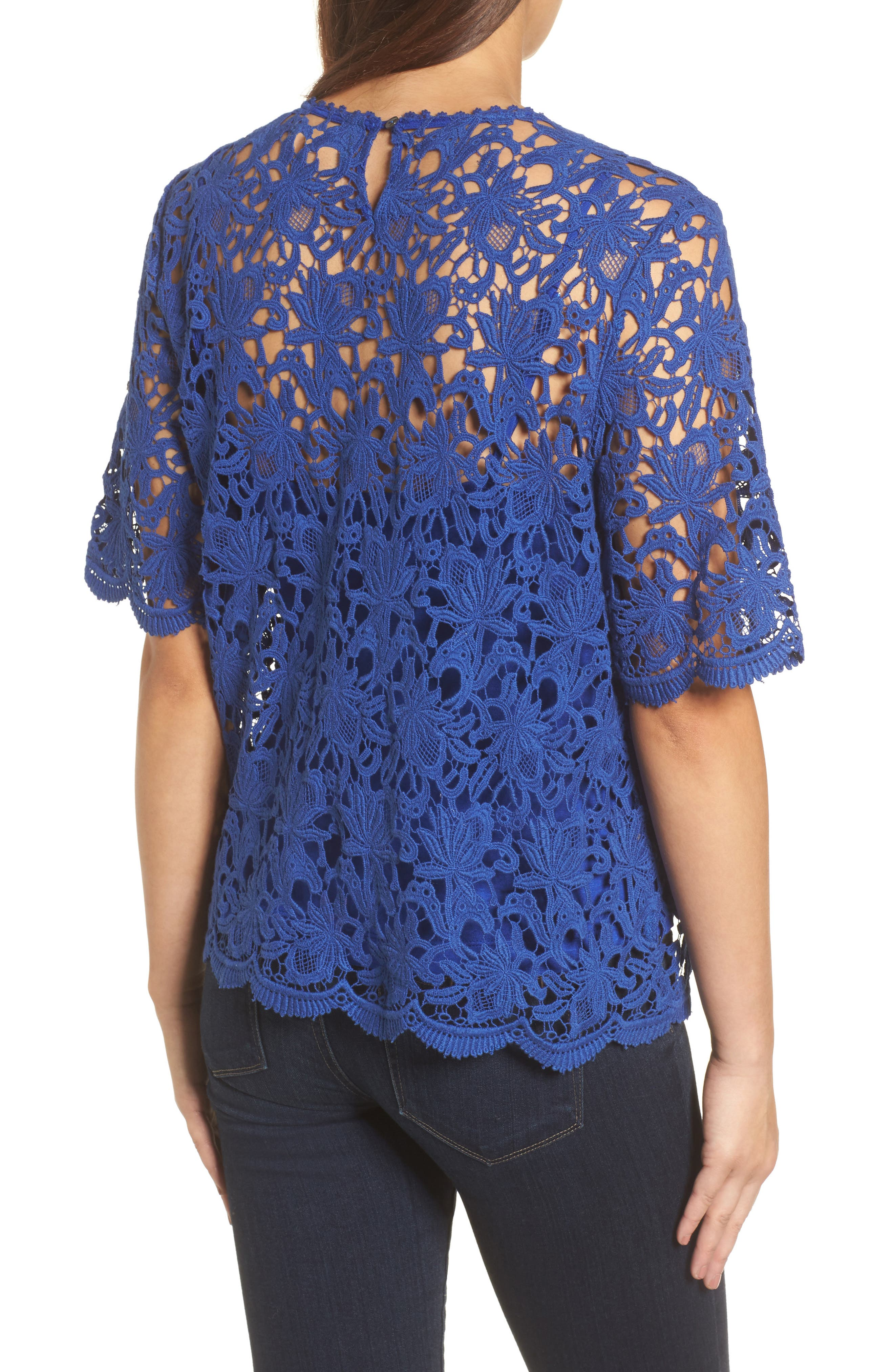 Lace Elbow Sleeve Blouse,                             Alternate thumbnail 4, color,