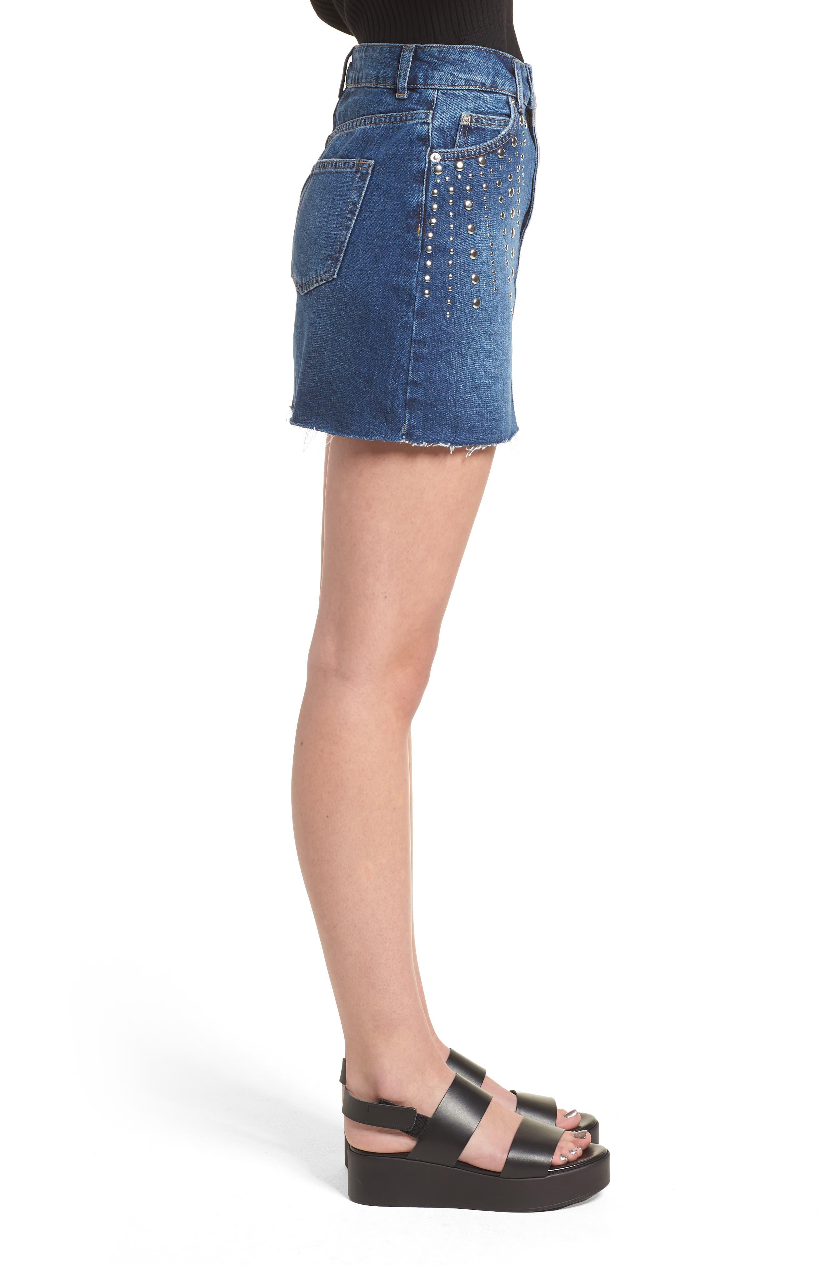 Spray Studded Denim Skirt,                             Alternate thumbnail 3, color,