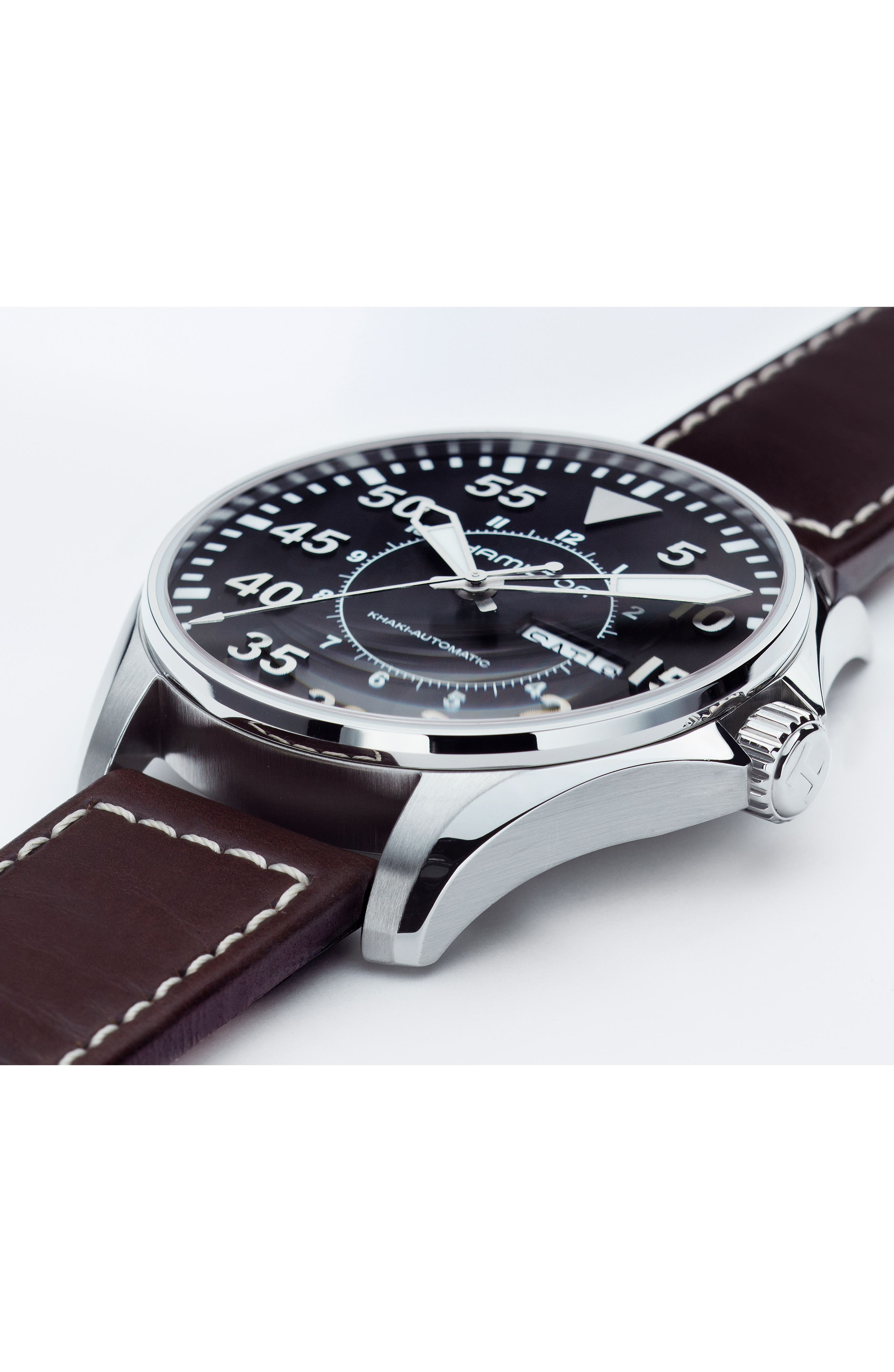 Khaki Aviation Automatic Leather Strap Watch, 46mm,                             Alternate thumbnail 4, color,                             BROWN/ BLACK/ SILVER
