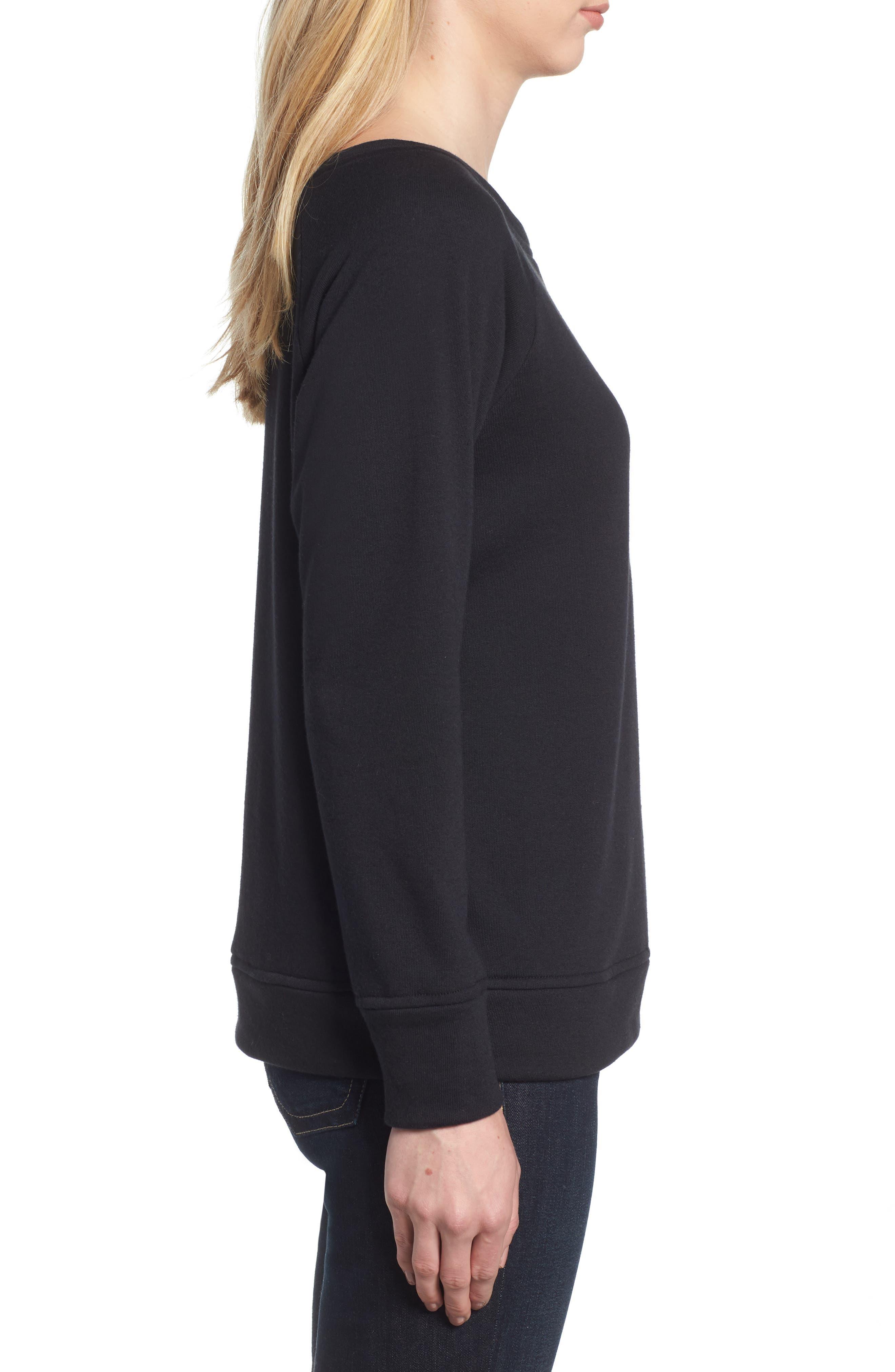 Slouch Sweatshirt,                             Alternate thumbnail 3, color,                             BLACK