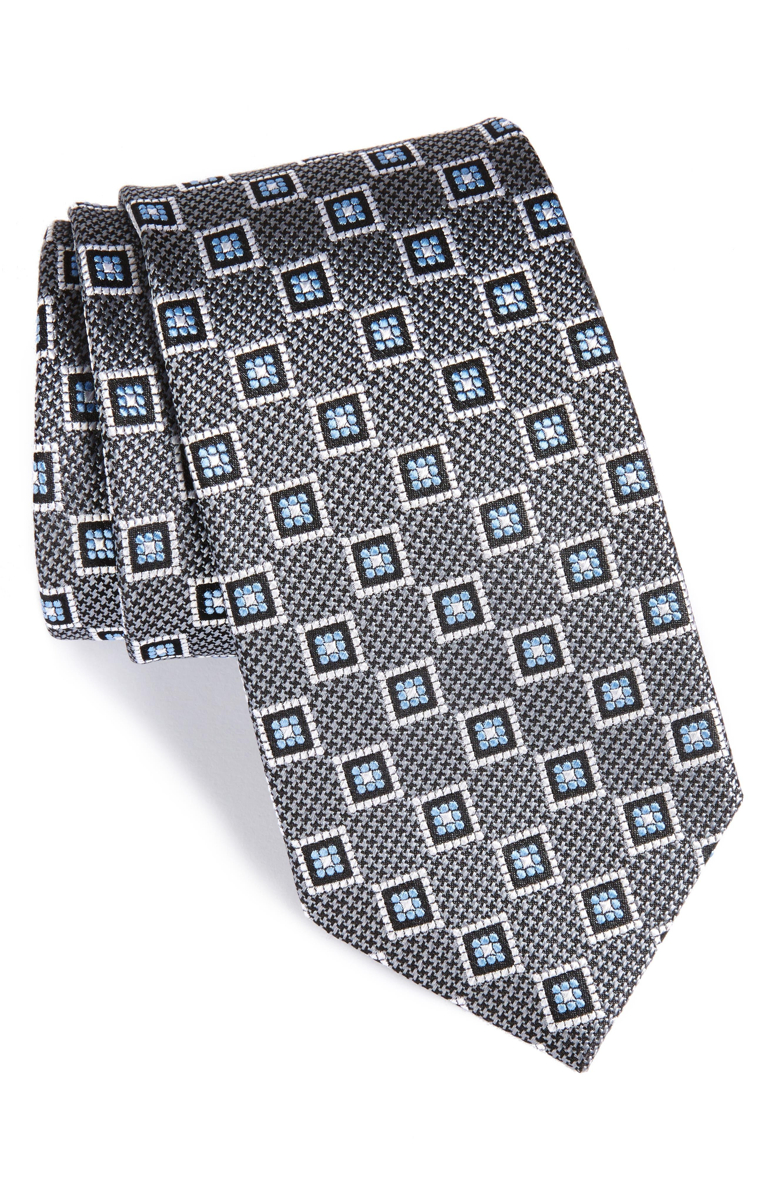Neat Geometric Medallion Silk Tie,                         Main,                         color, 040