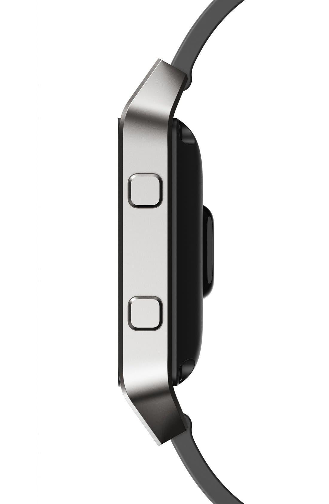 Blaze Leather Smart Watch Band,                             Alternate thumbnail 3, color,                             BLACK