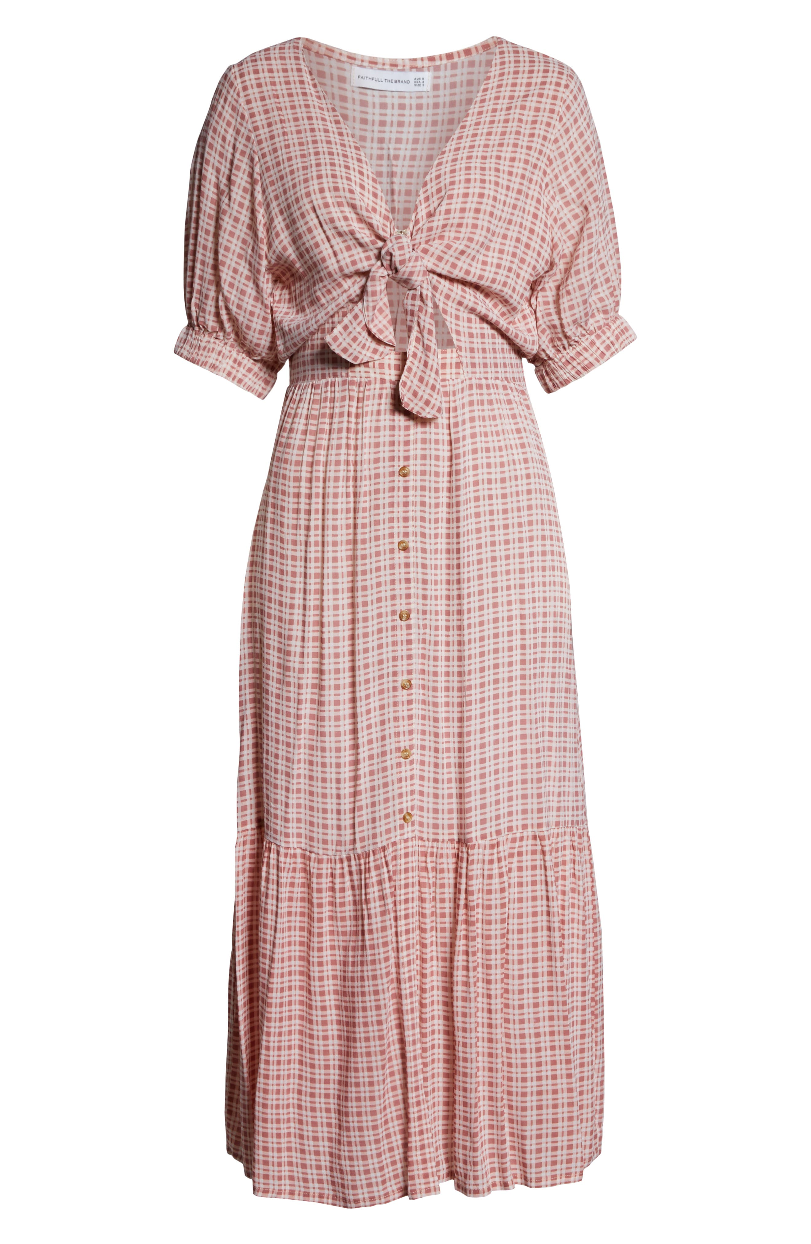 FAITHFULL THE BRAND,                             Maple Midi Dress,                             Alternate thumbnail 5, color,                             EMILINAH CHECK PRINT