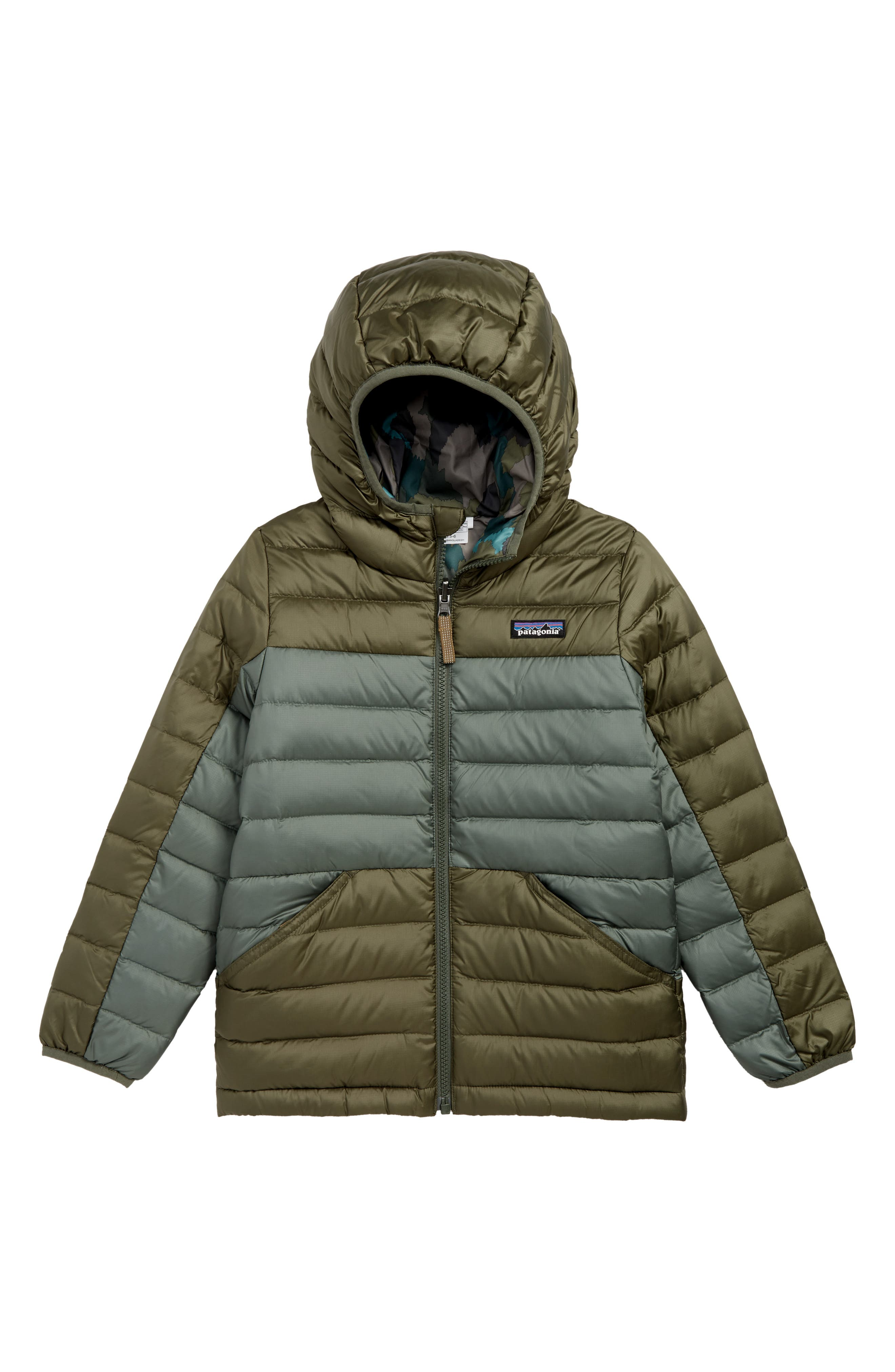 Water Repellent Reversible Down Sweater Hoodie,                             Main thumbnail 1, color,                             INDUSTRIAL GREEN