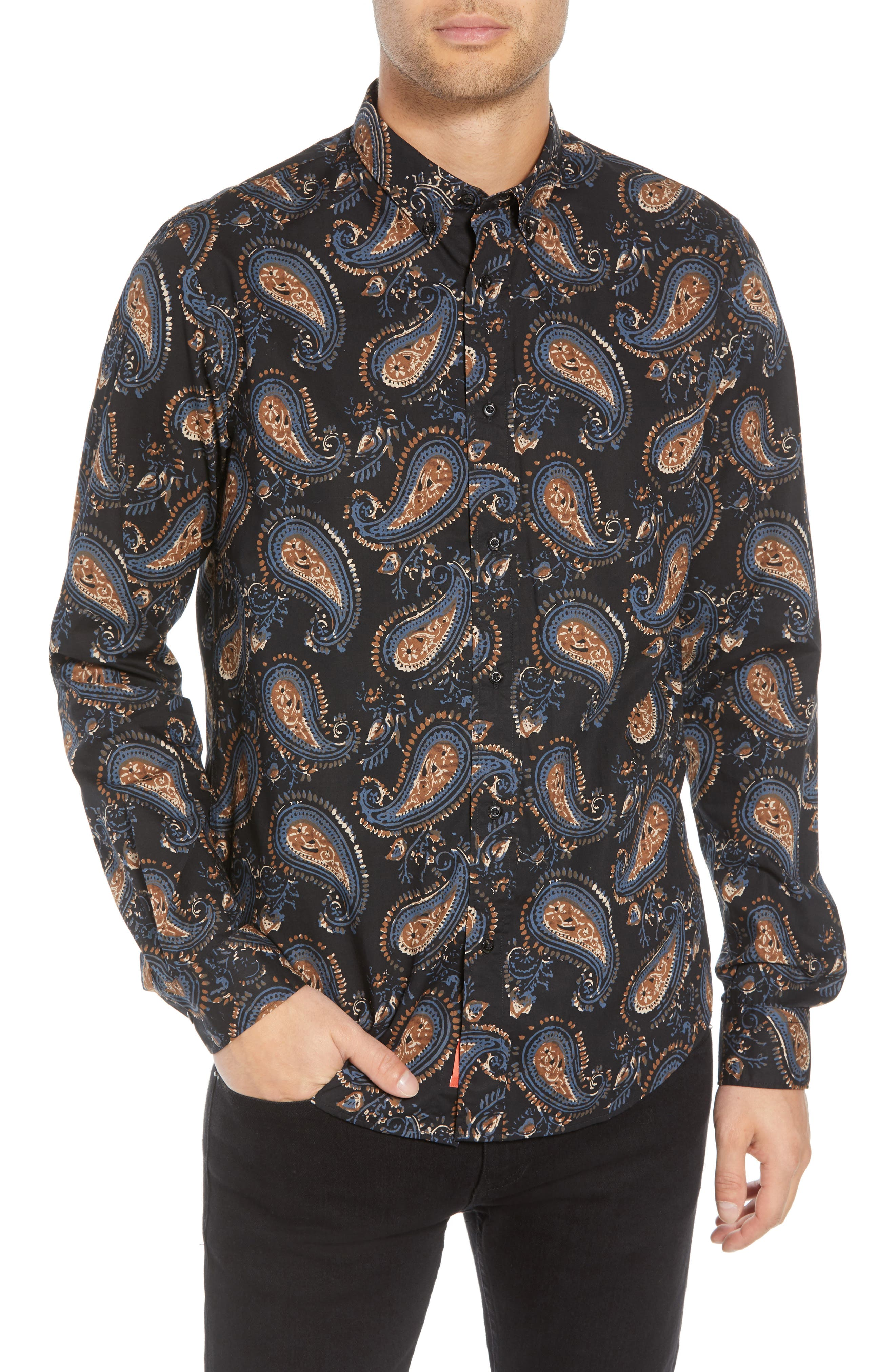 Regular Fit Paisley Sport Shirt,                             Main thumbnail 1, color,                             001