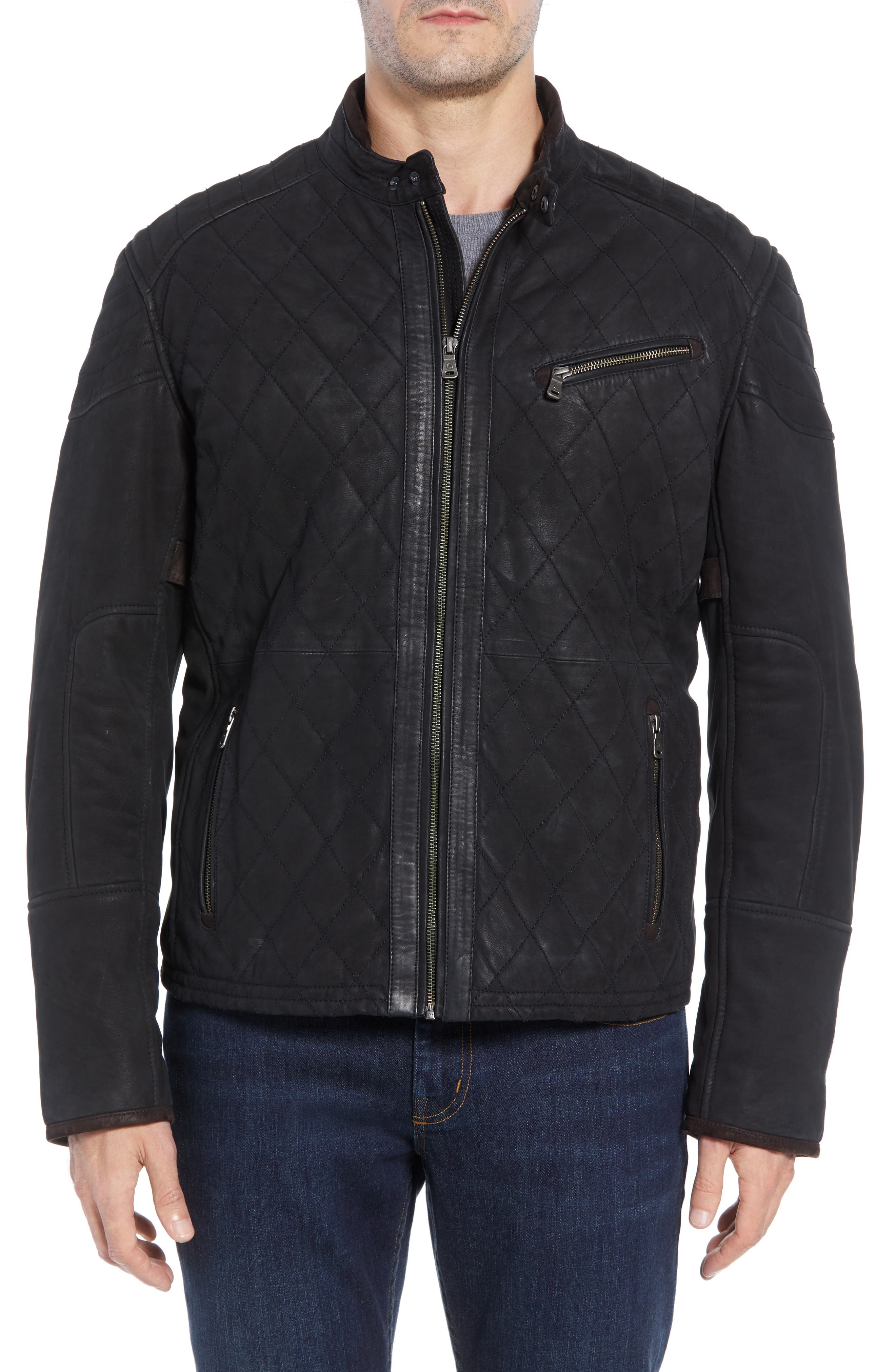 Quilted Leather Moto Jacket,                             Alternate thumbnail 4, color,