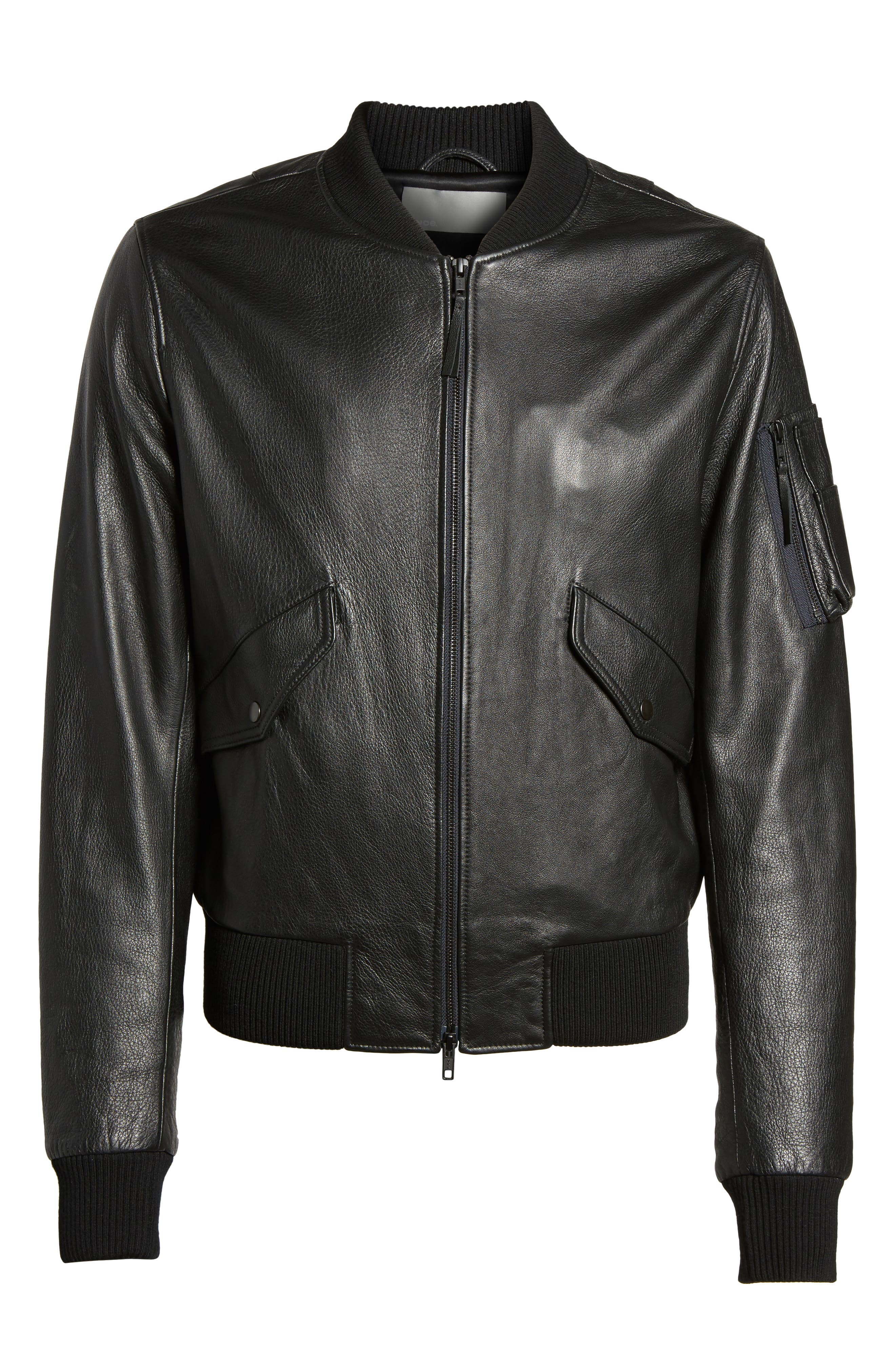 Lambskin Bomber Jacket,                             Alternate thumbnail 5, color,                             001