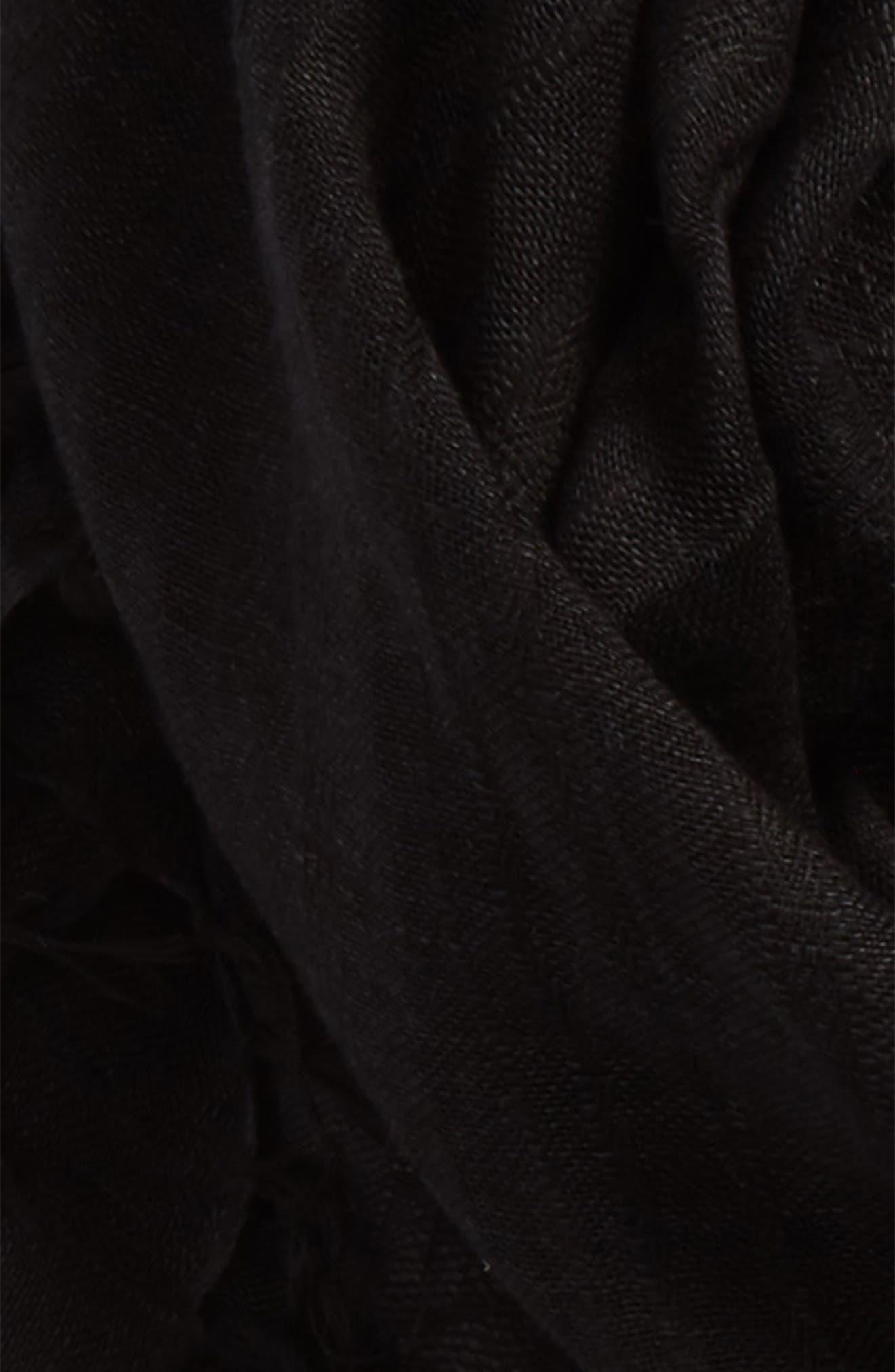 Solid Linen Blend Scarf,                             Alternate thumbnail 3, color,                             001