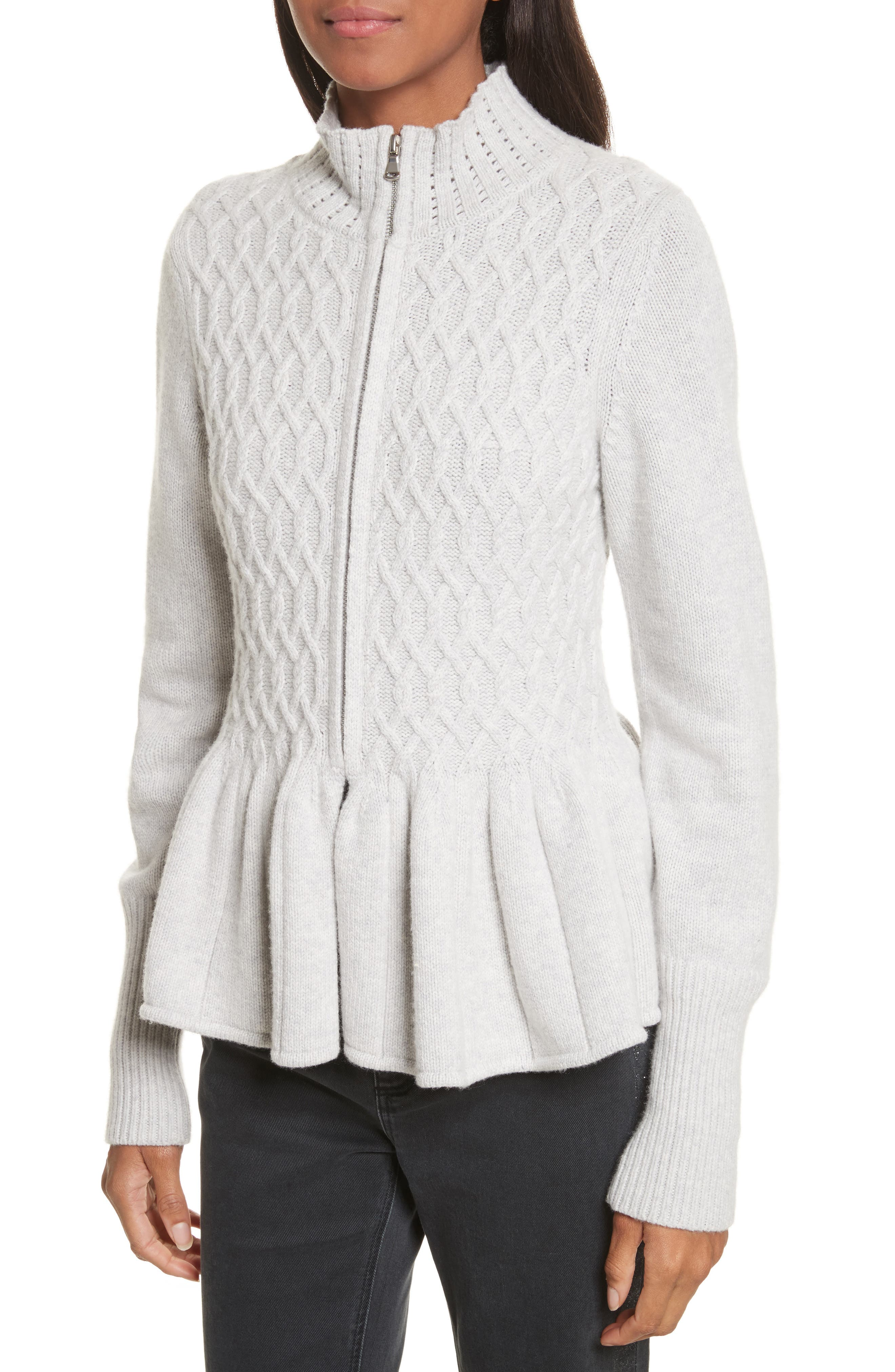 Cable Knit Front Zip Cardigan,                             Alternate thumbnail 4, color,                             058