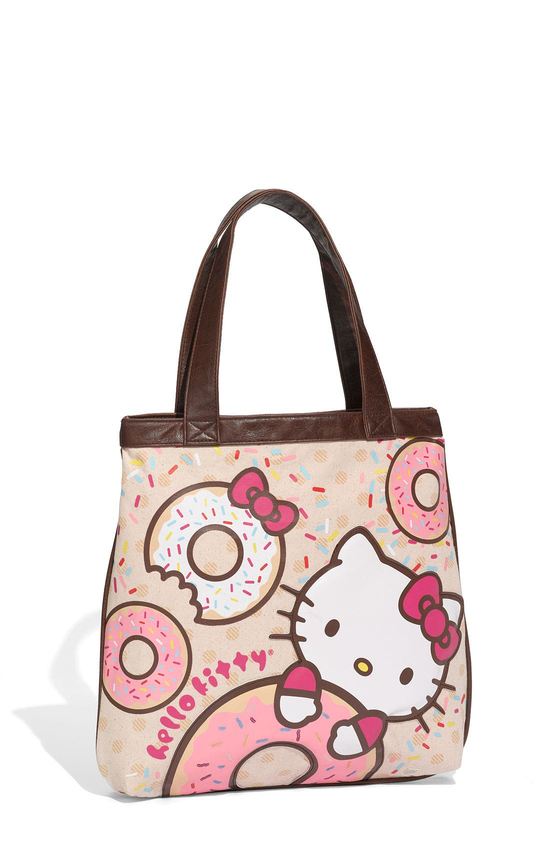 LOUNGEFLY,                             'Hello Kitty<sup>®</sup> - Doughnut' Canvas Handbag,                             Main thumbnail 1, color,                             100