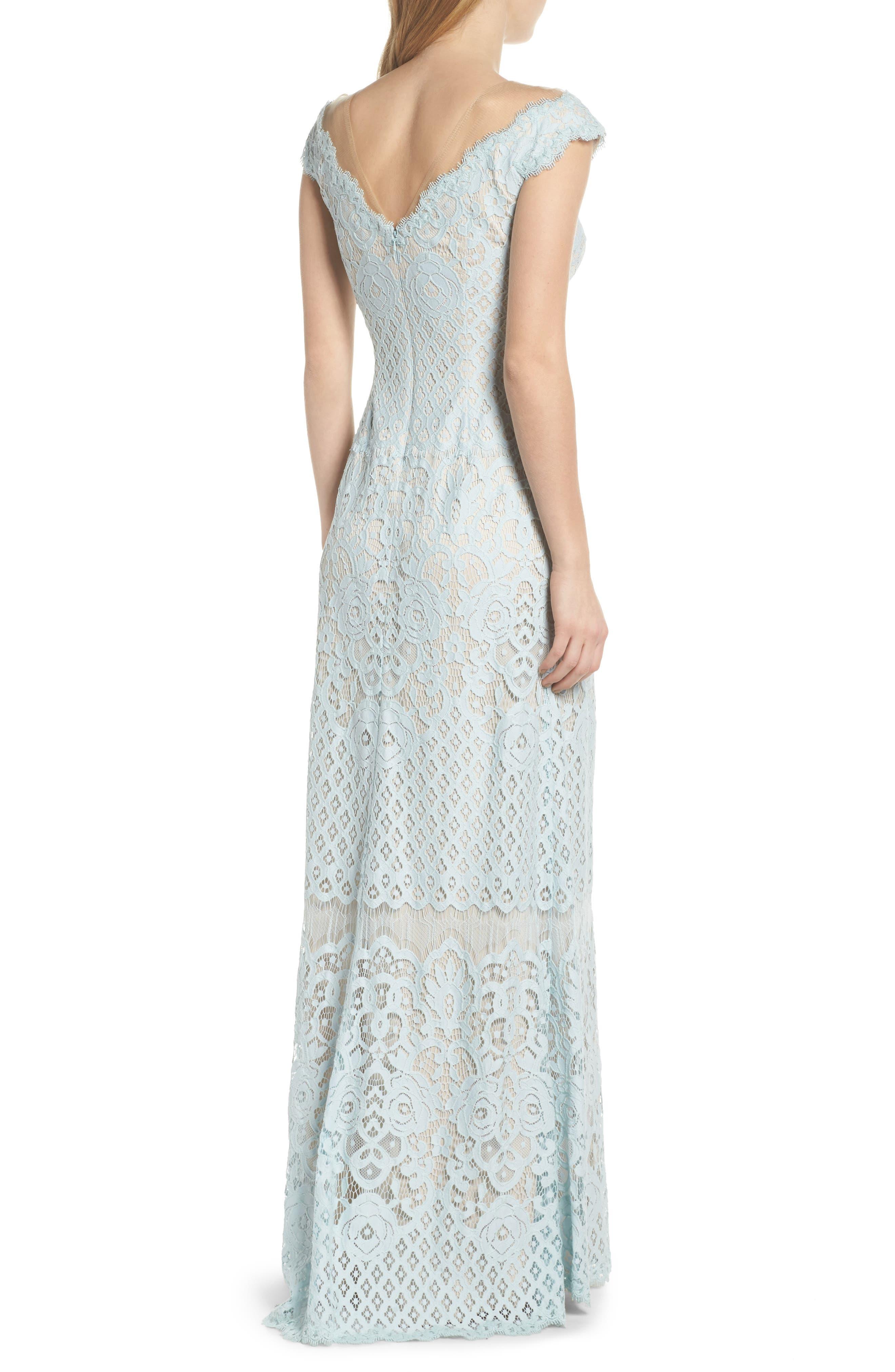 Illusion Neck Lace Column Gown,                             Alternate thumbnail 2, color,                             400
