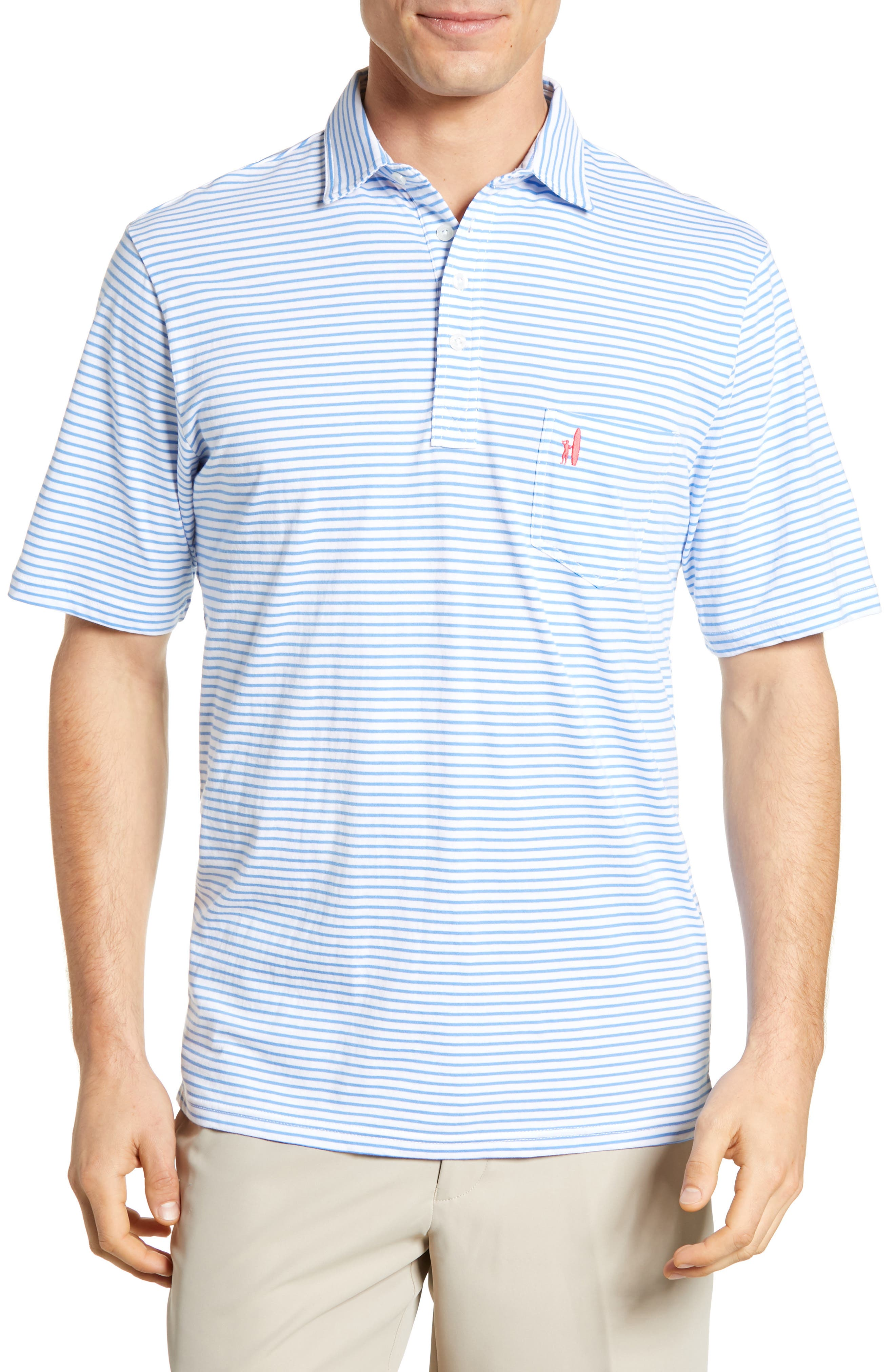 JOHNNIE-O Macon Regular Fit Stripe Polo in White