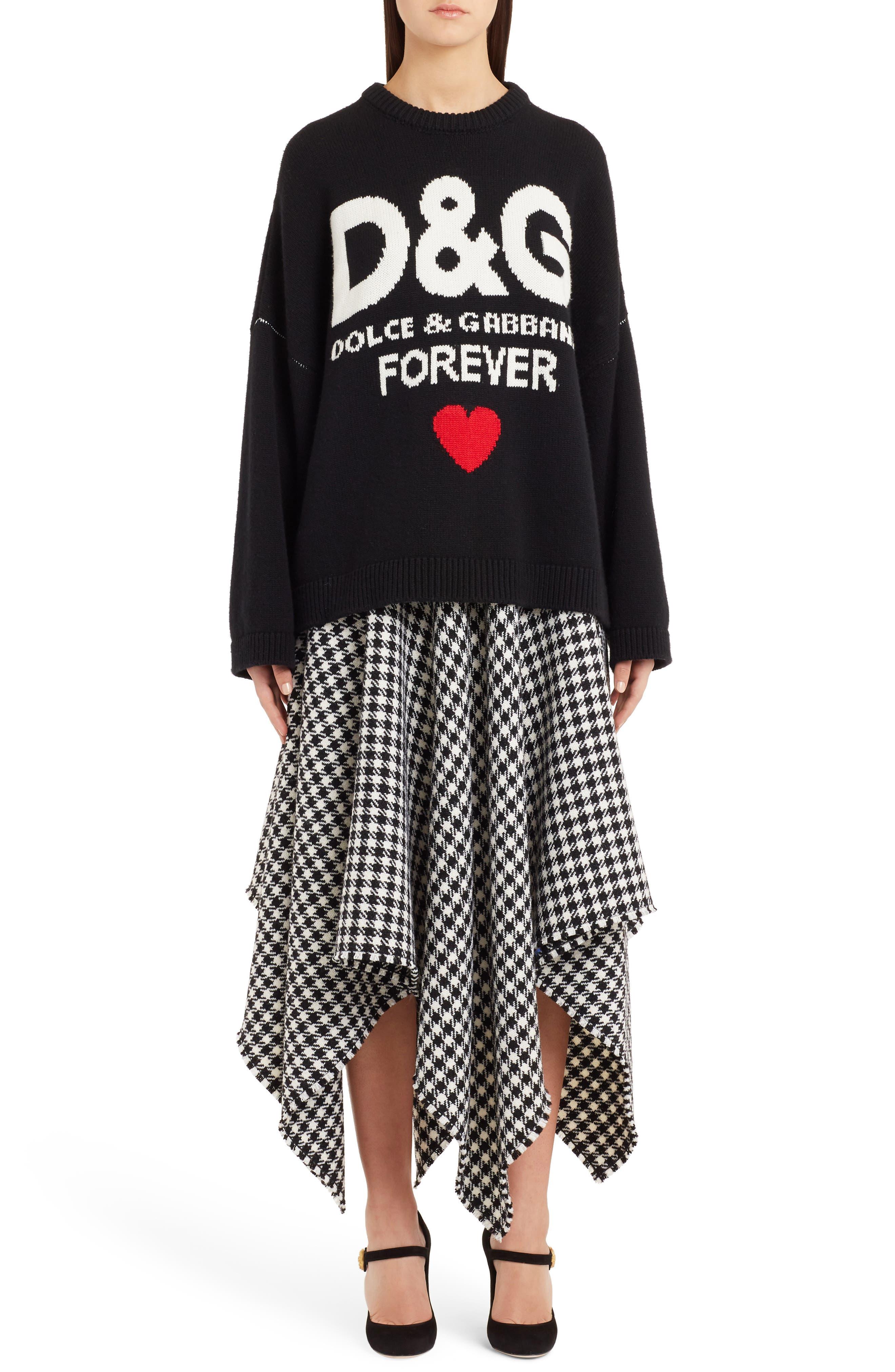 DOLCE&GABBANA,                             Intarsia Logo Cashmere Sweater,                             Alternate thumbnail 6, color,                             BLACK