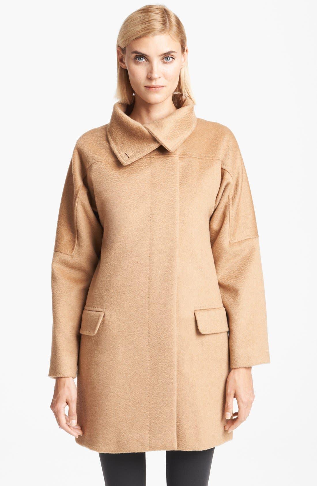 Funnel Neck Camel's Hair Coat, Main, color, 250