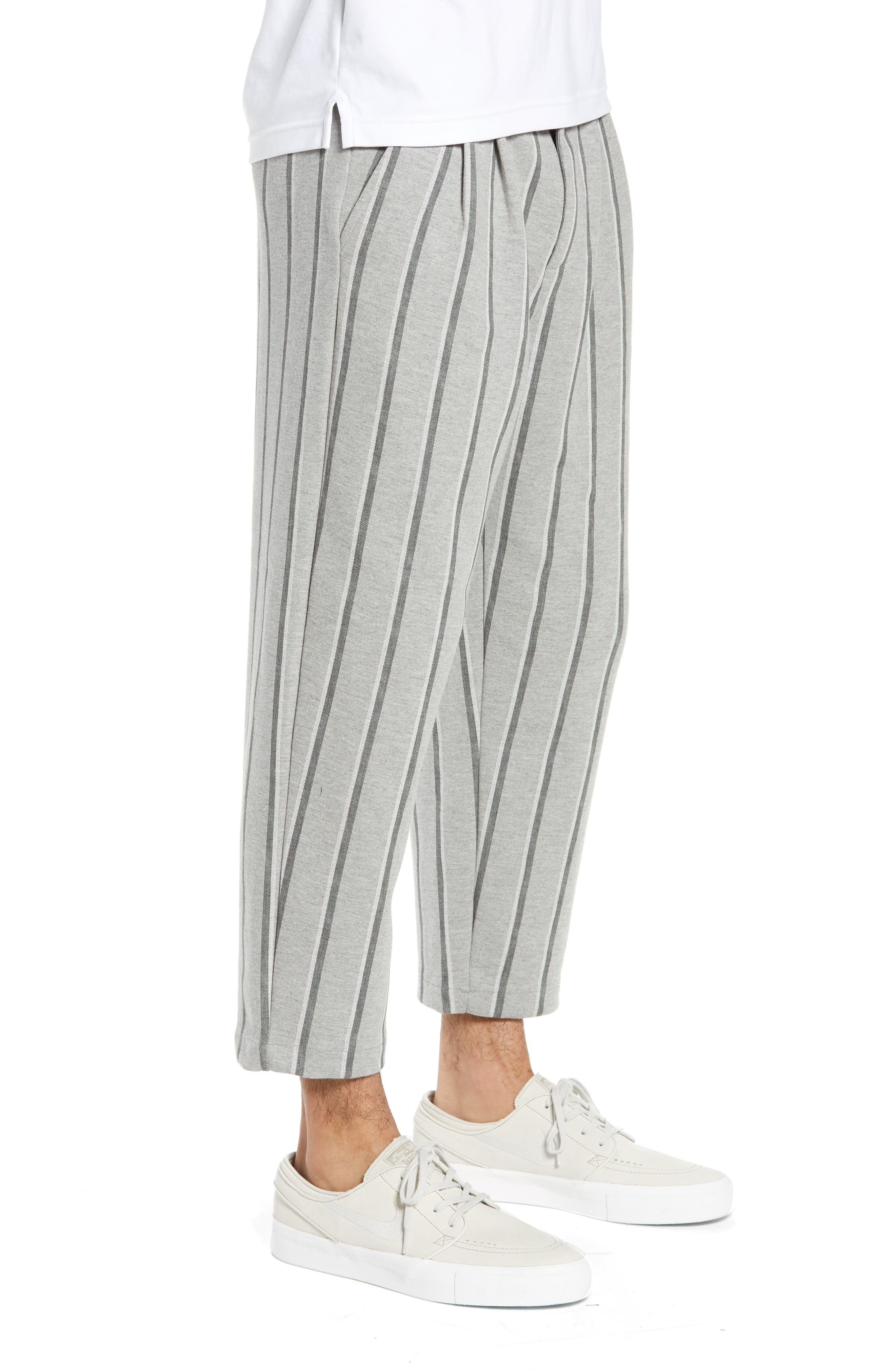 Pleated Plaid Crop Pants,                             Alternate thumbnail 3, color,                             GREY BLACK SHADOW STRIPE