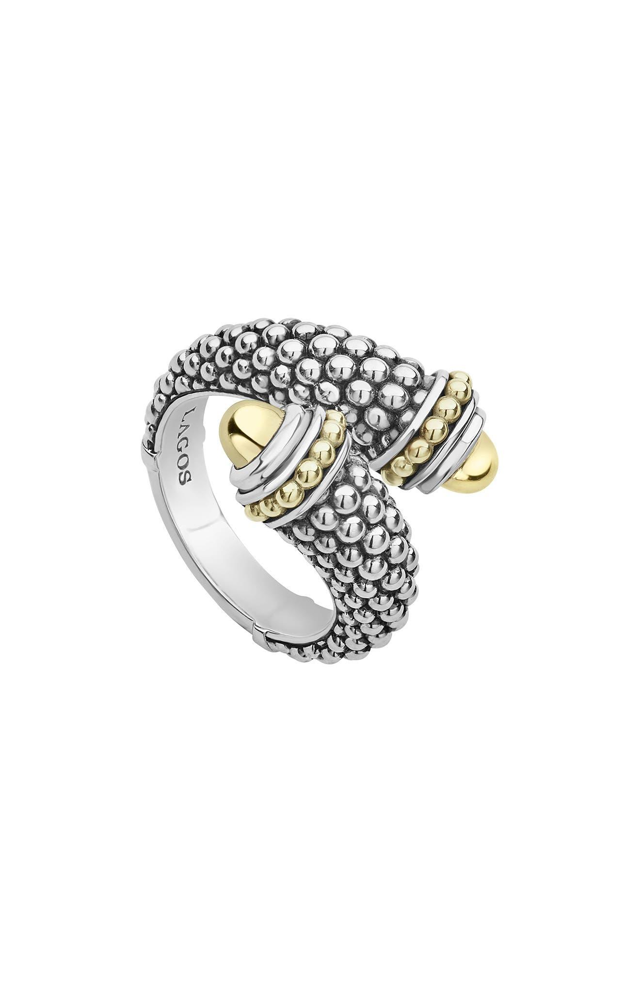 Signature Caviar Gold Cap Crossover Ring,                             Main thumbnail 1, color,                             SILVER/ GOLD