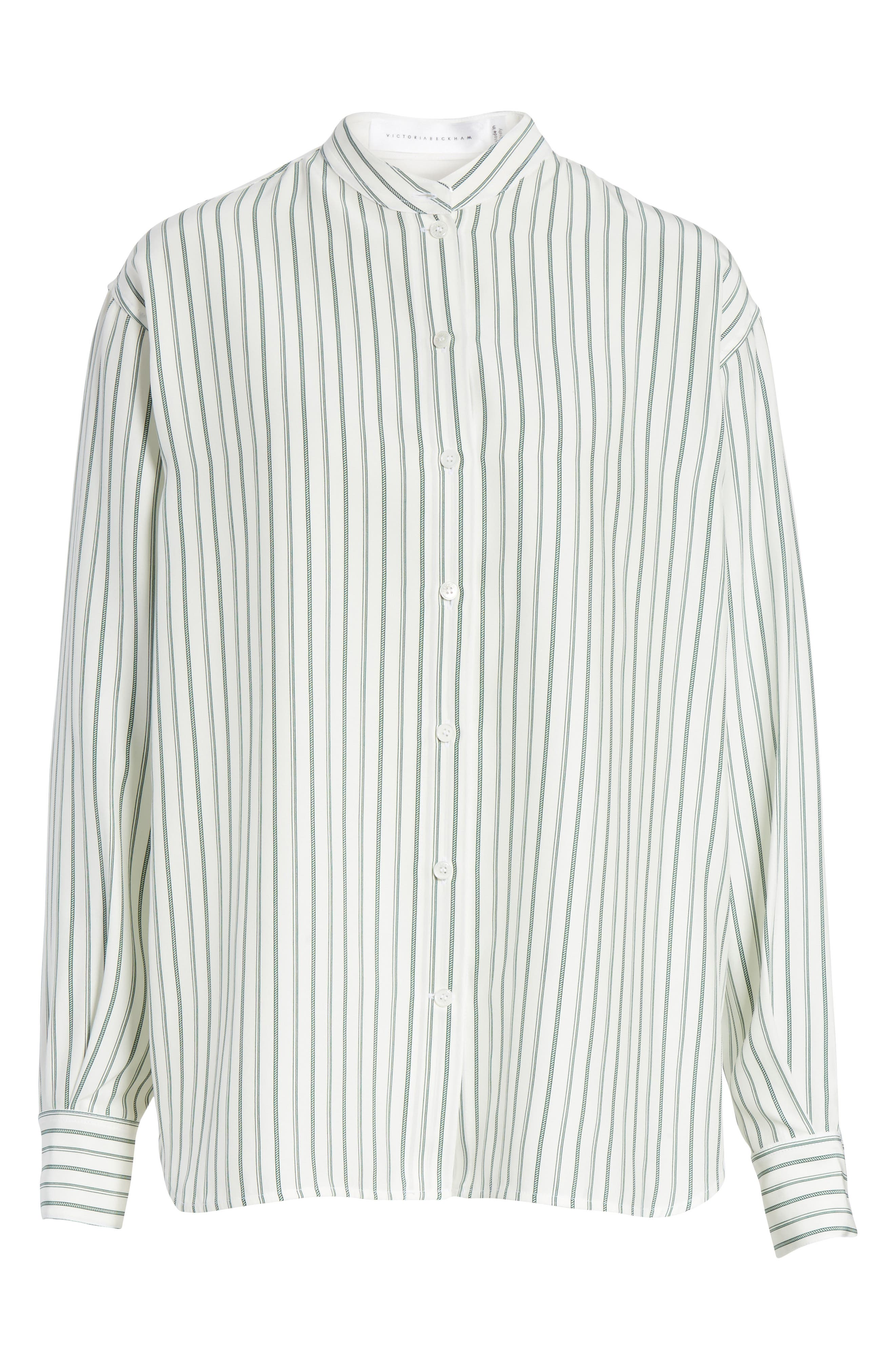 Stripe Silk Granddad Shirt,                             Alternate thumbnail 6, color,                             DARK GREEN/ OFF WHITE