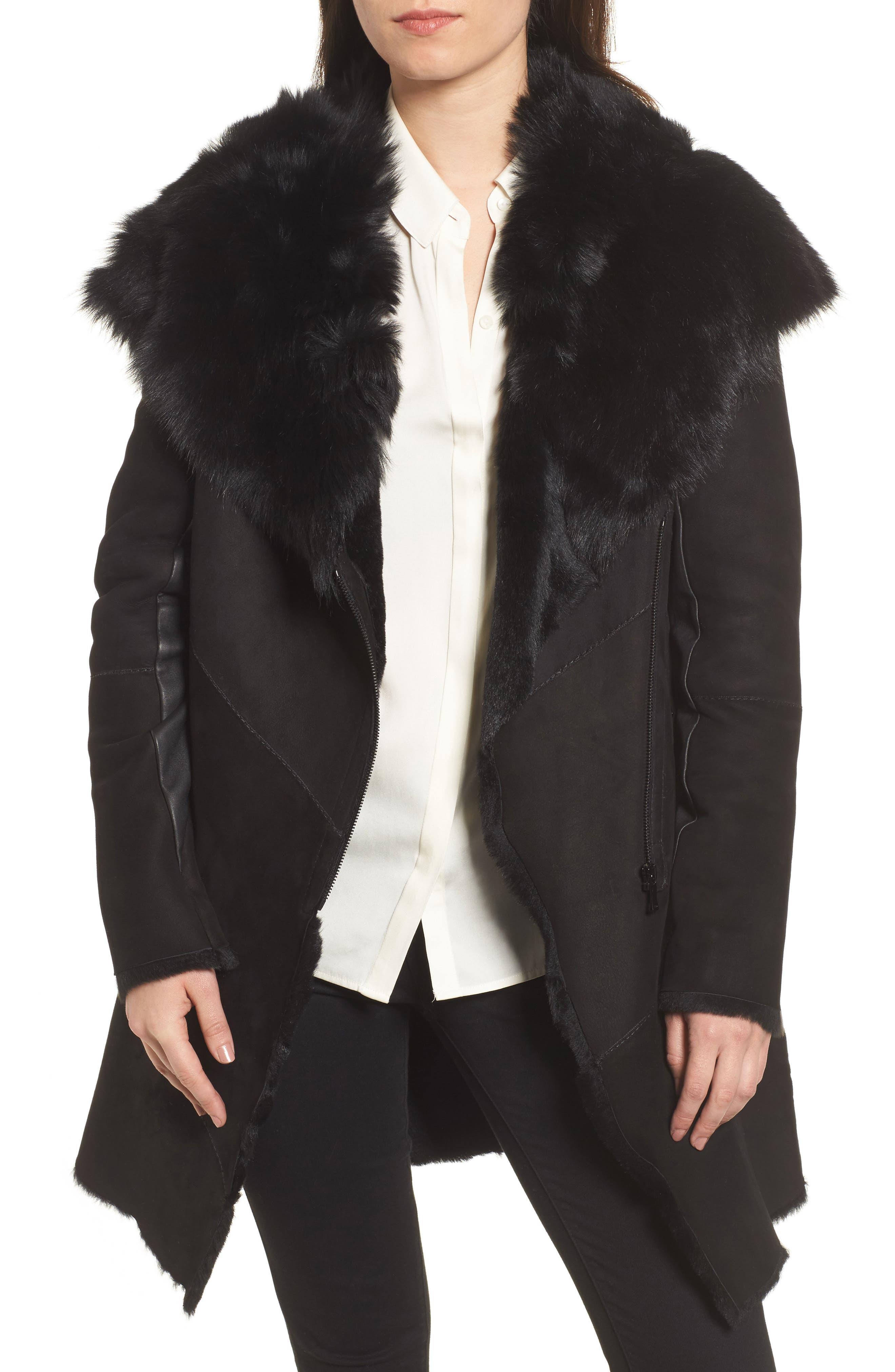 Hiso Asymmetrical Genuine Toscana Shearling Coat, Black