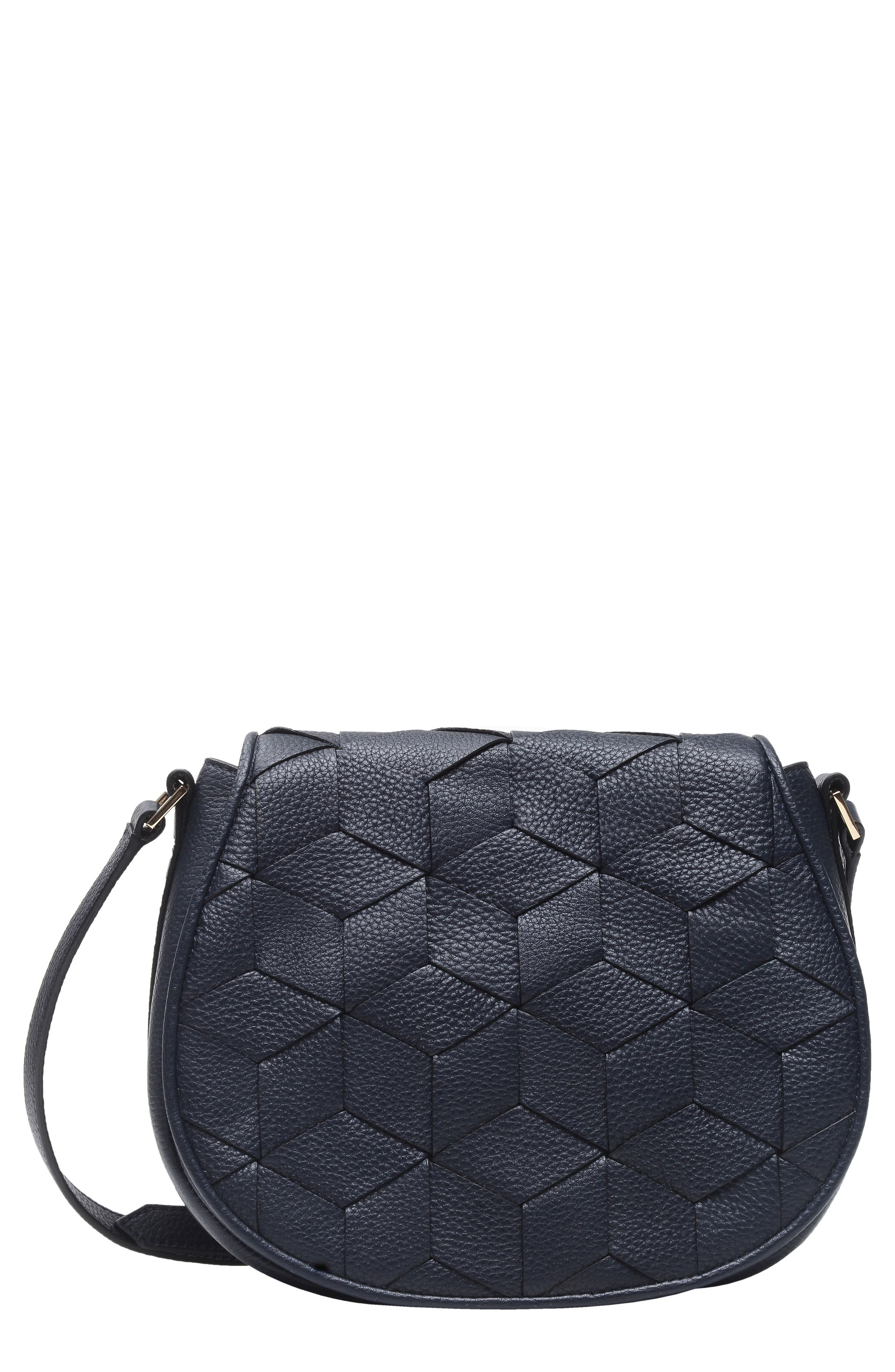 Escapade Pebbled Leather Saddle Bag,                         Main,                         color, NAVY