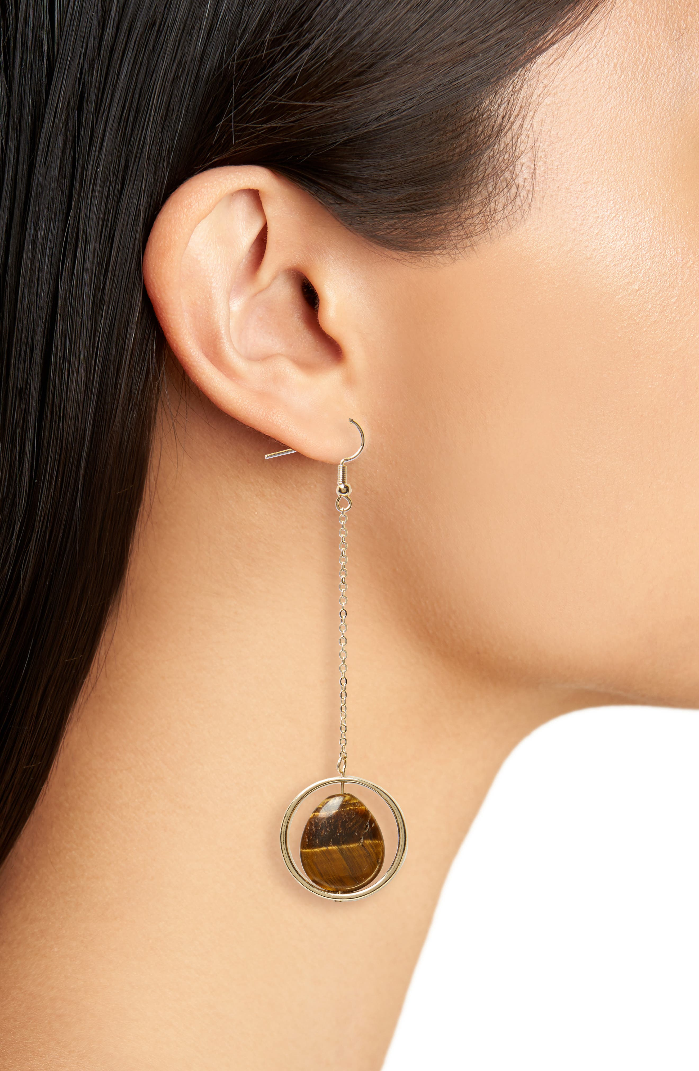 Tiger's Eye Drop Earrings,                             Alternate thumbnail 2, color,                             GOLD/ STONE