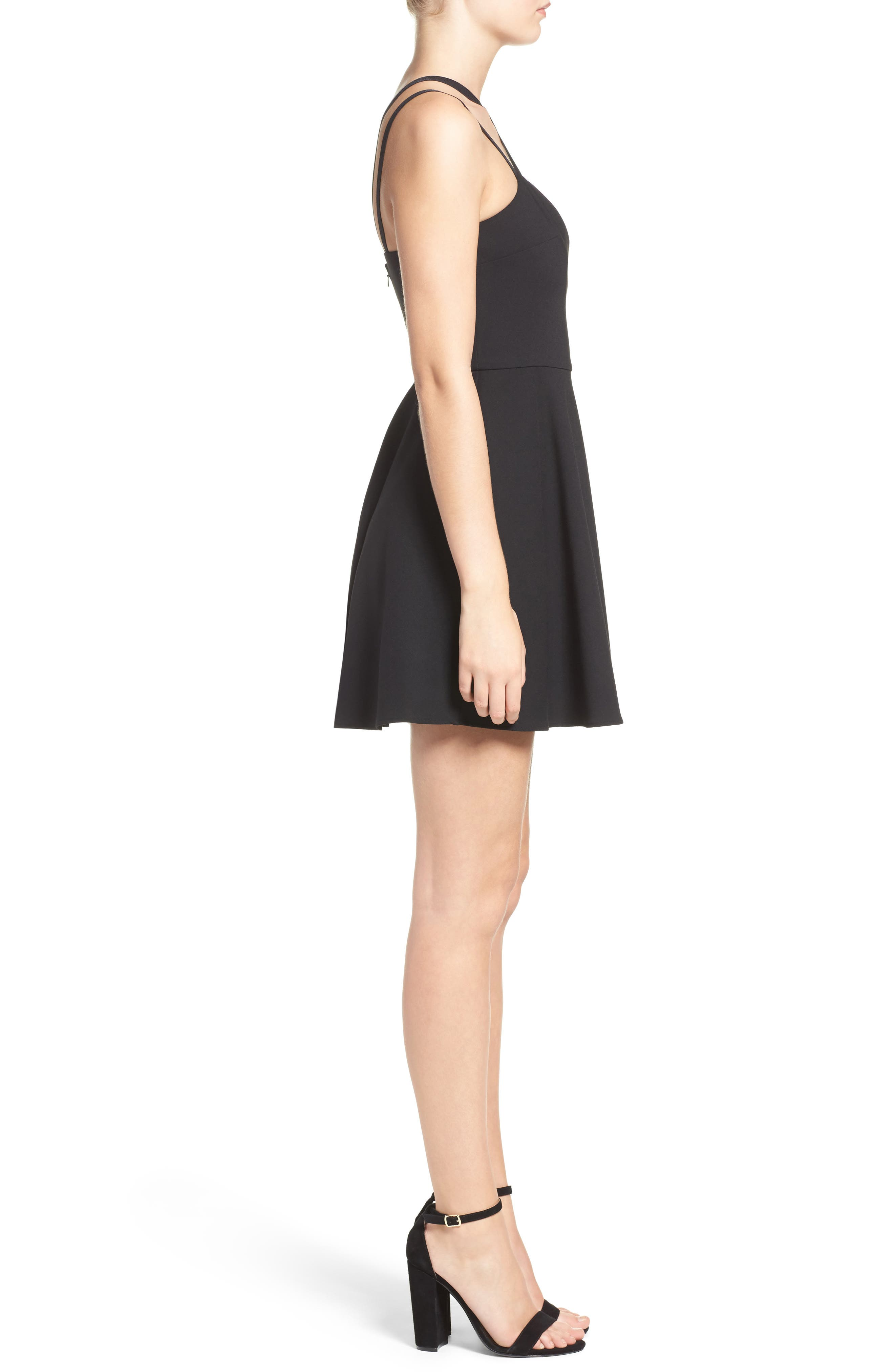 Whisper Light Fit & Flare Dress,                             Alternate thumbnail 3, color,                             BLACK