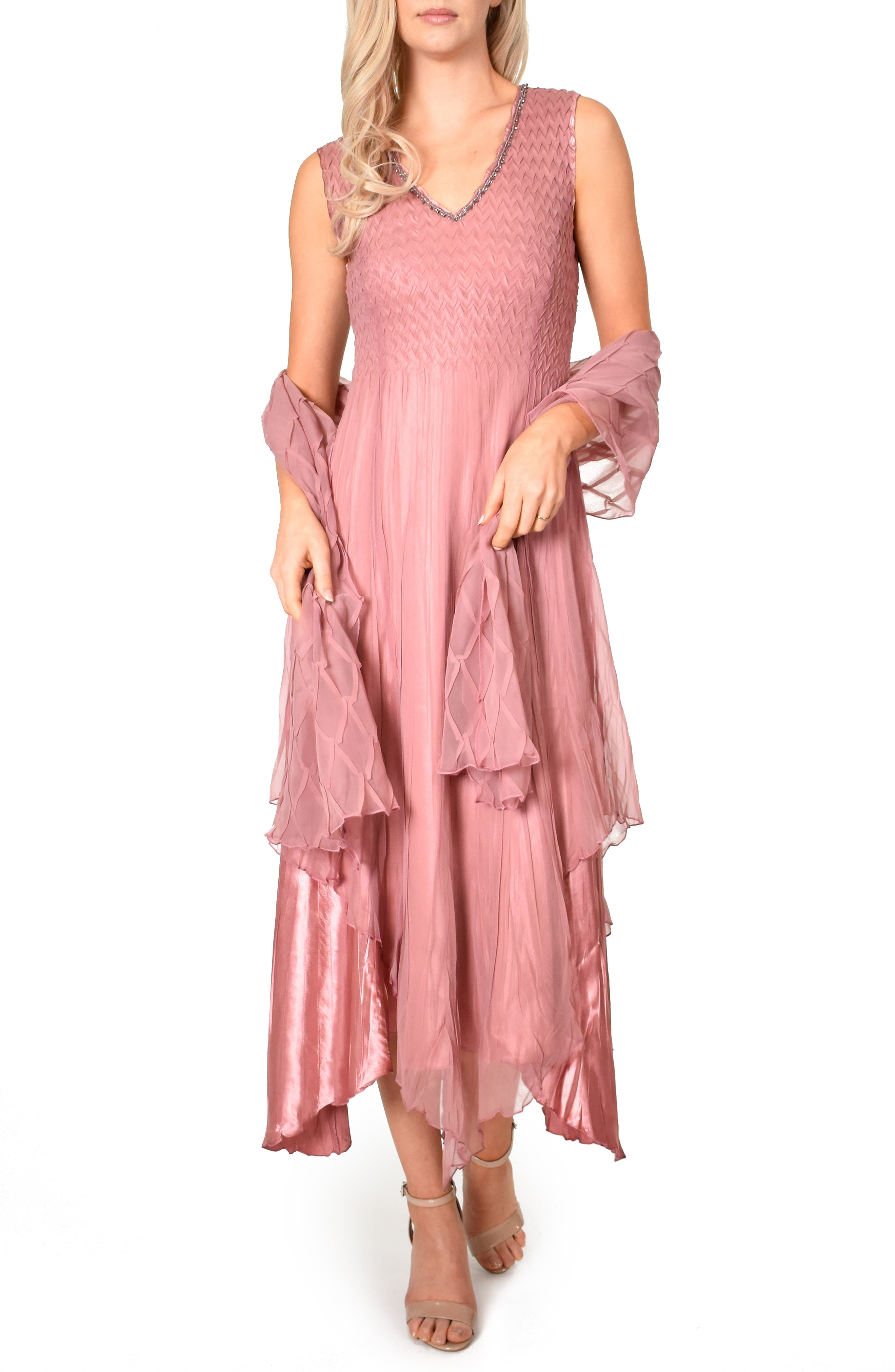 Petite Komarov New Chiffon Sleeveless Evening Dress With Shawl, Pink