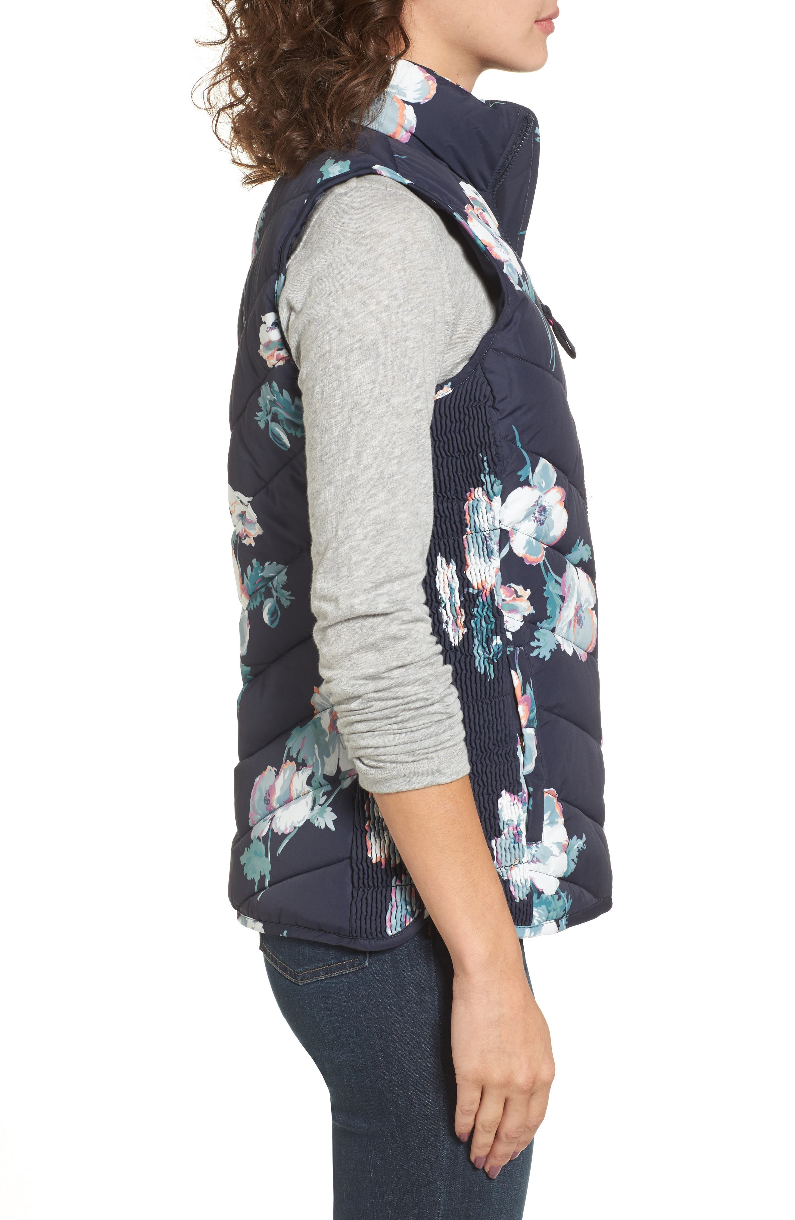 Print Quilted Vest,                             Alternate thumbnail 3, color,                             407