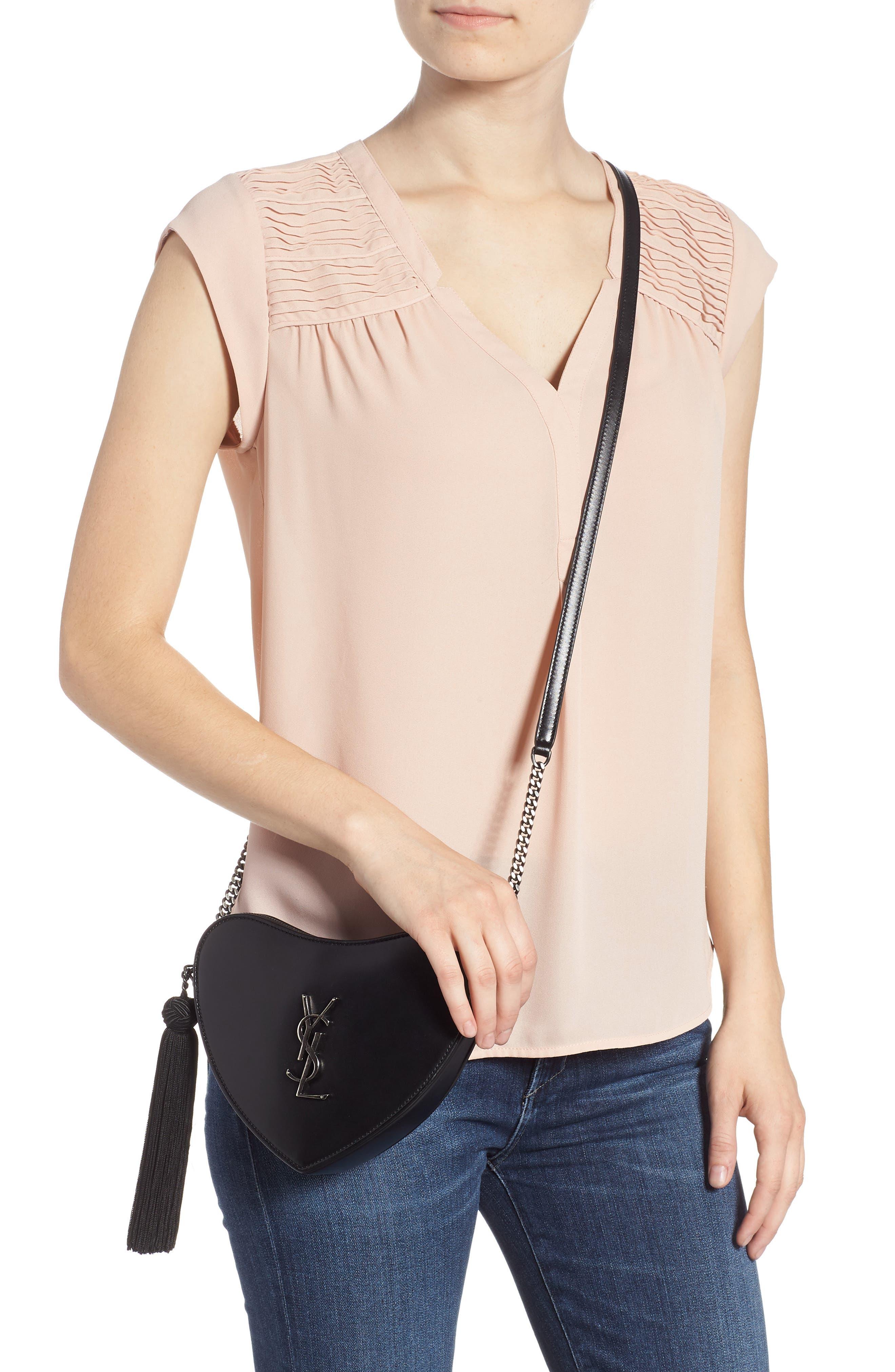 Sac Coeur Leather Crossbody Bag,                             Alternate thumbnail 2, color,                             NOIR/ NOIR