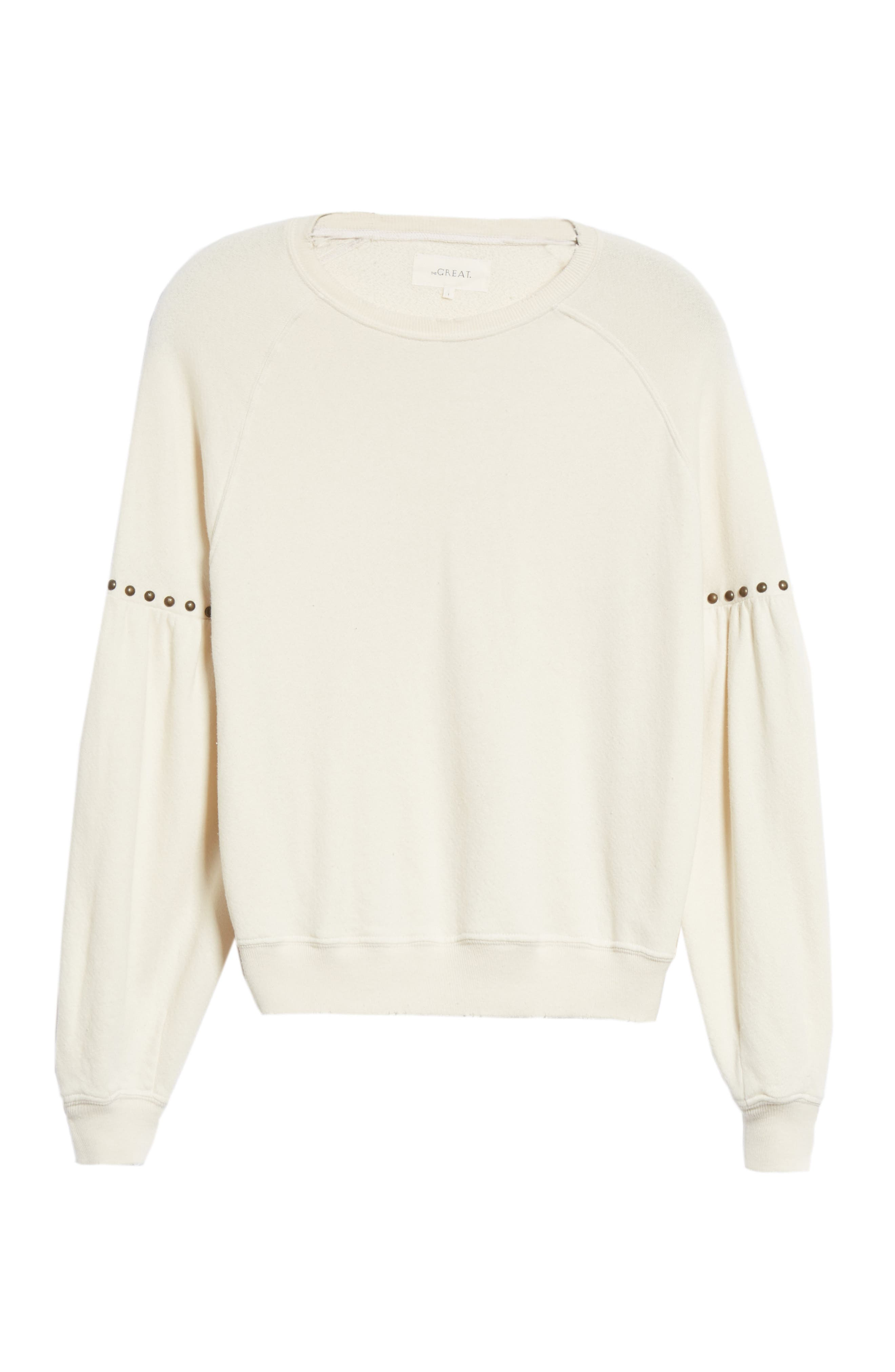 The Bishop Sleeve Studded Sweatshirt,                             Alternate thumbnail 6, color,                             WASHED WHITE W/ STUDS