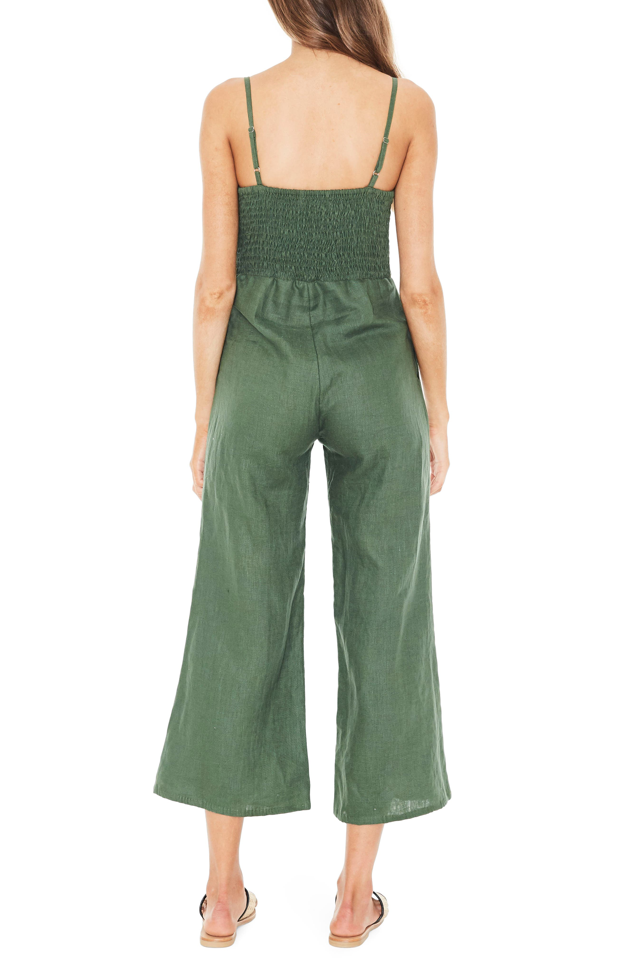 Presley Linen Jumpsuit,                             Alternate thumbnail 2, color,                             PLAIN MOSS GREEN