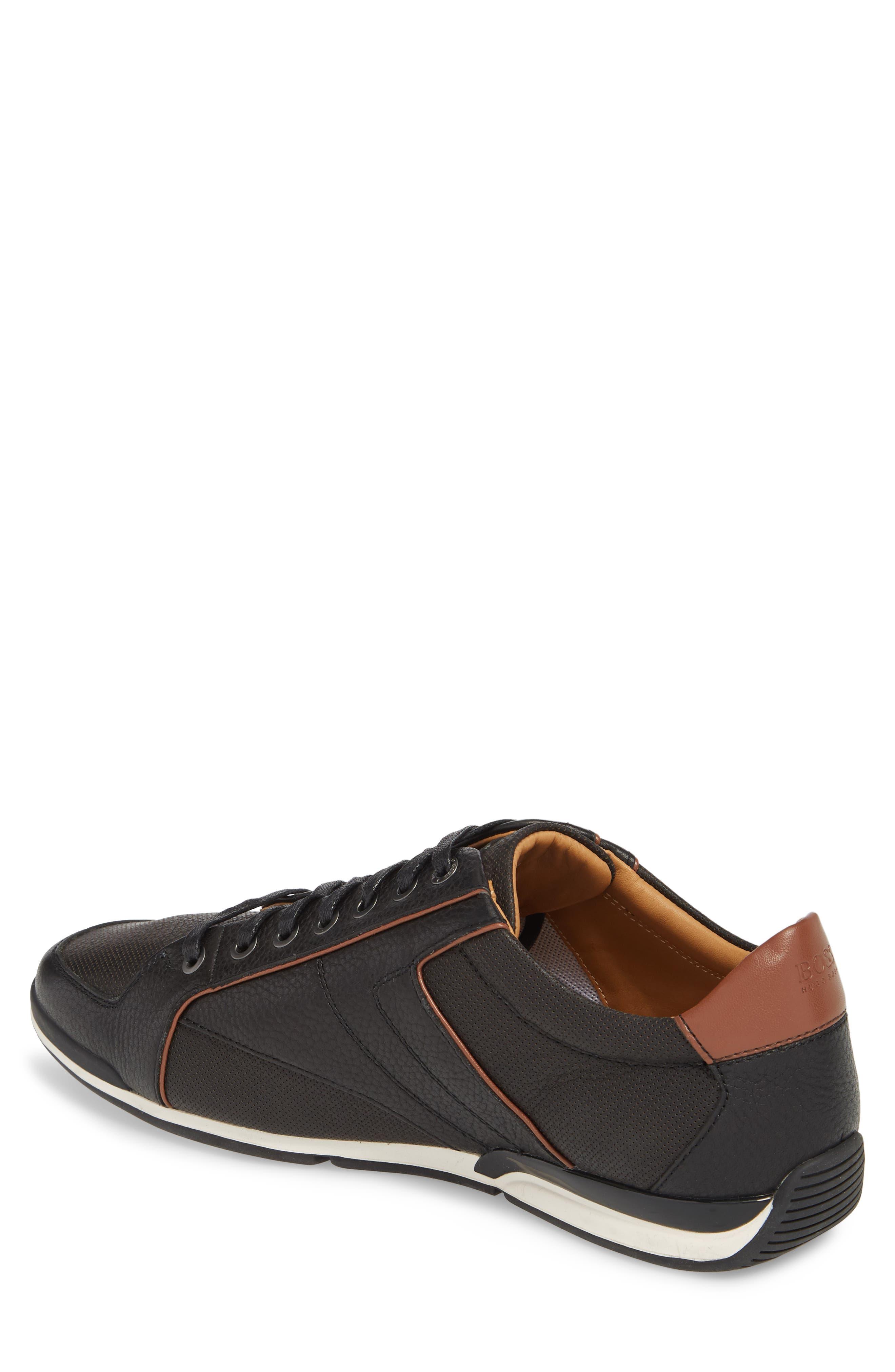 Hugo Boss Saturn Low Top Sneaker,                             Alternate thumbnail 2, color,                             BLACK LEATHER